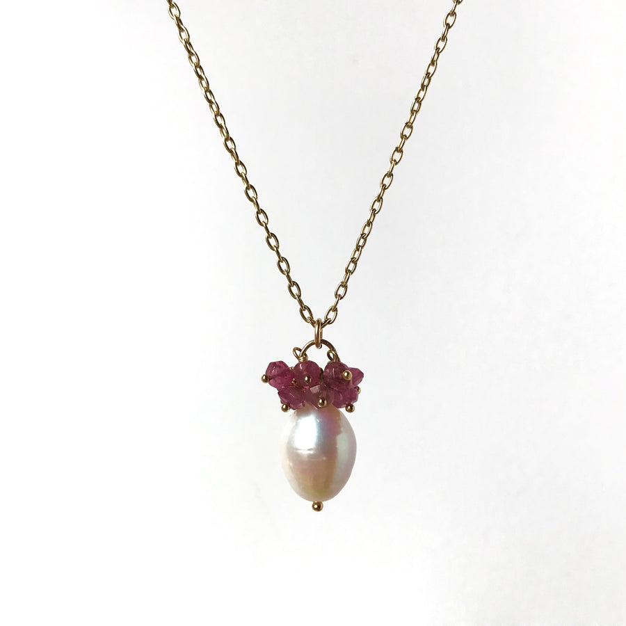 Pearl and Pink Tourmaline necklace