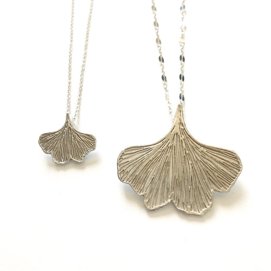 Small fine silver ginkgo leaf necklace