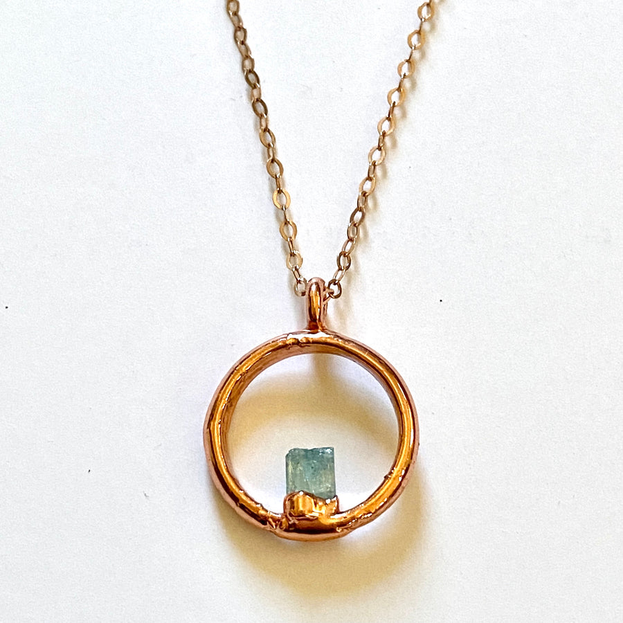 Petite tourmaline circle necklace