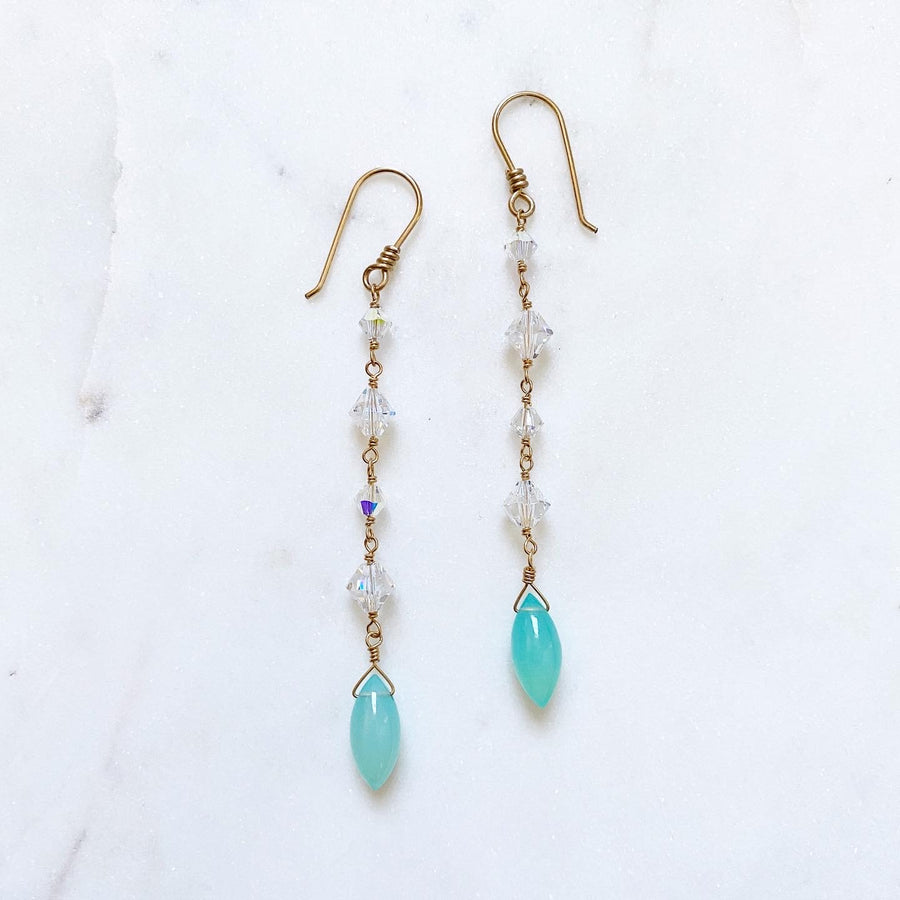 Blue chalcedony and Swarovski Crystal drop earrings