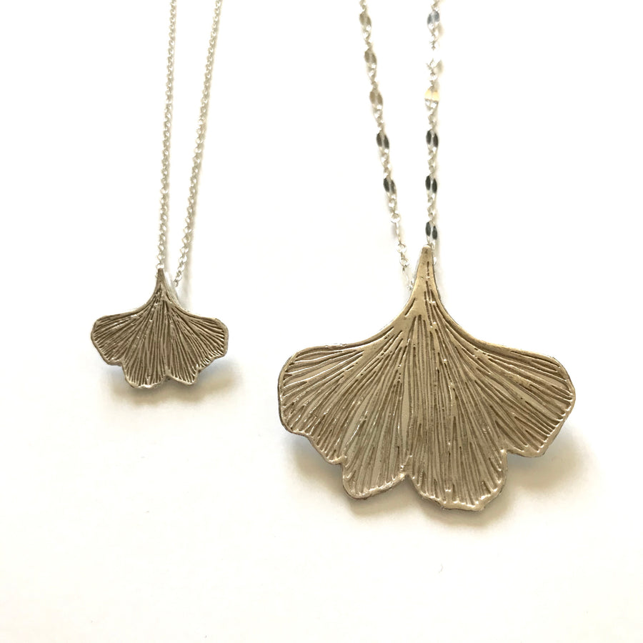 Large fine silver ginkgo leaf necklace