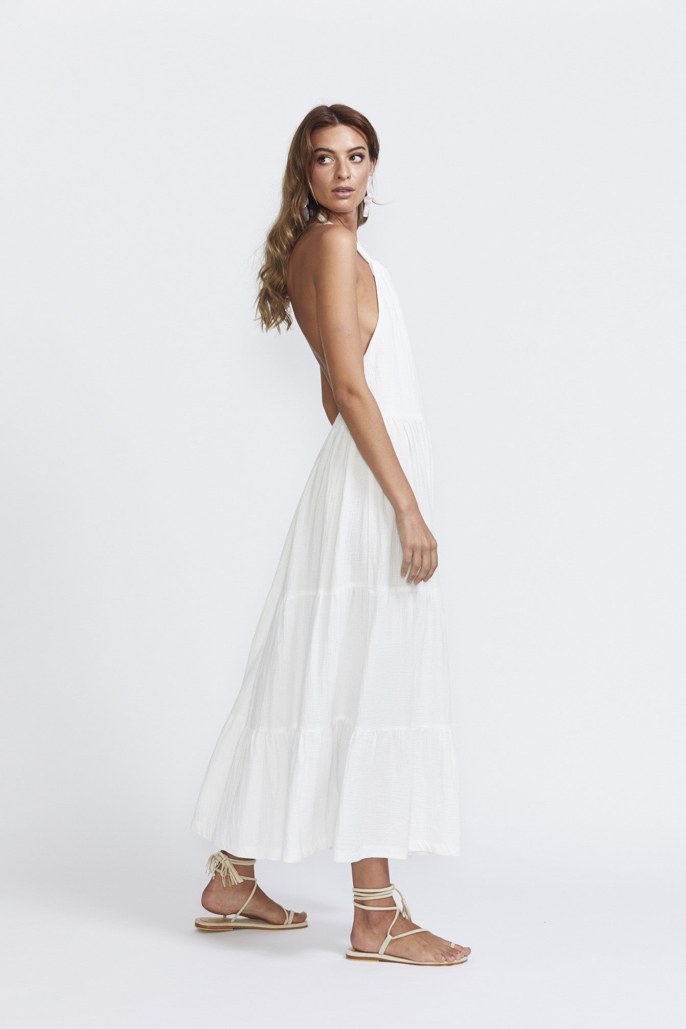 Bec & Bridge Haku Halter Dress Ivory