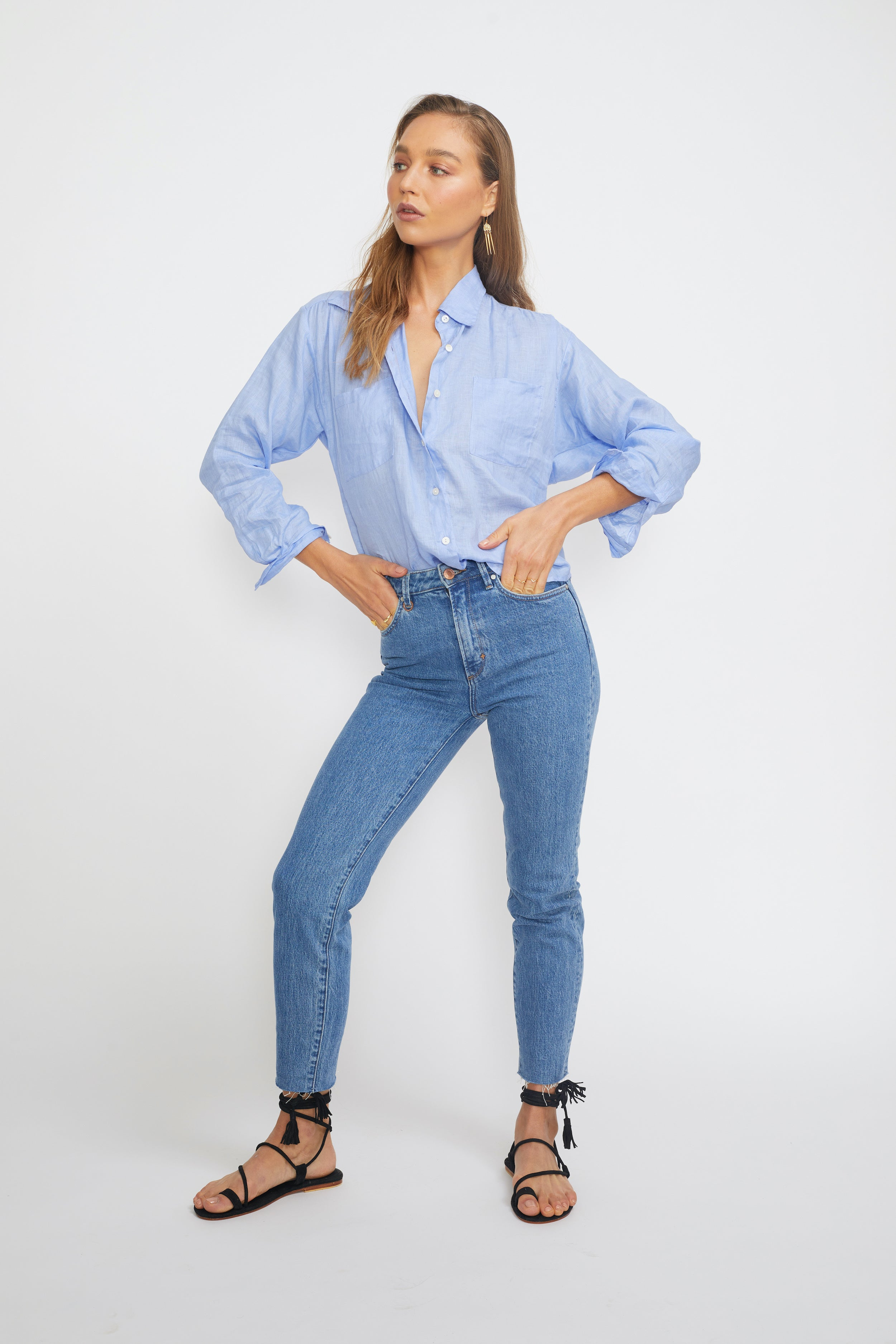 ÉSS THE LABEL Paloma Collared Linen Shirt - French Blue