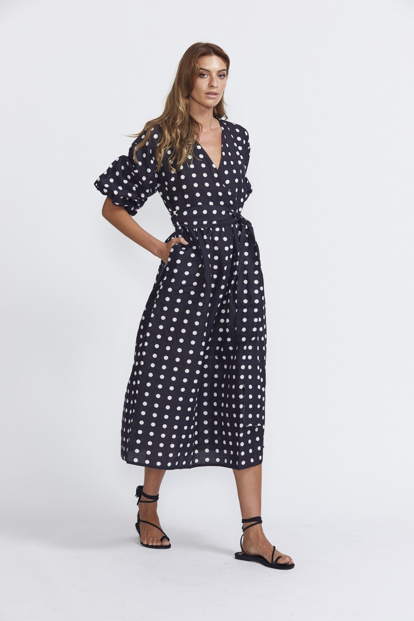 ÉSS THE LABEL Crystal Wrap Dress - Polka Dot