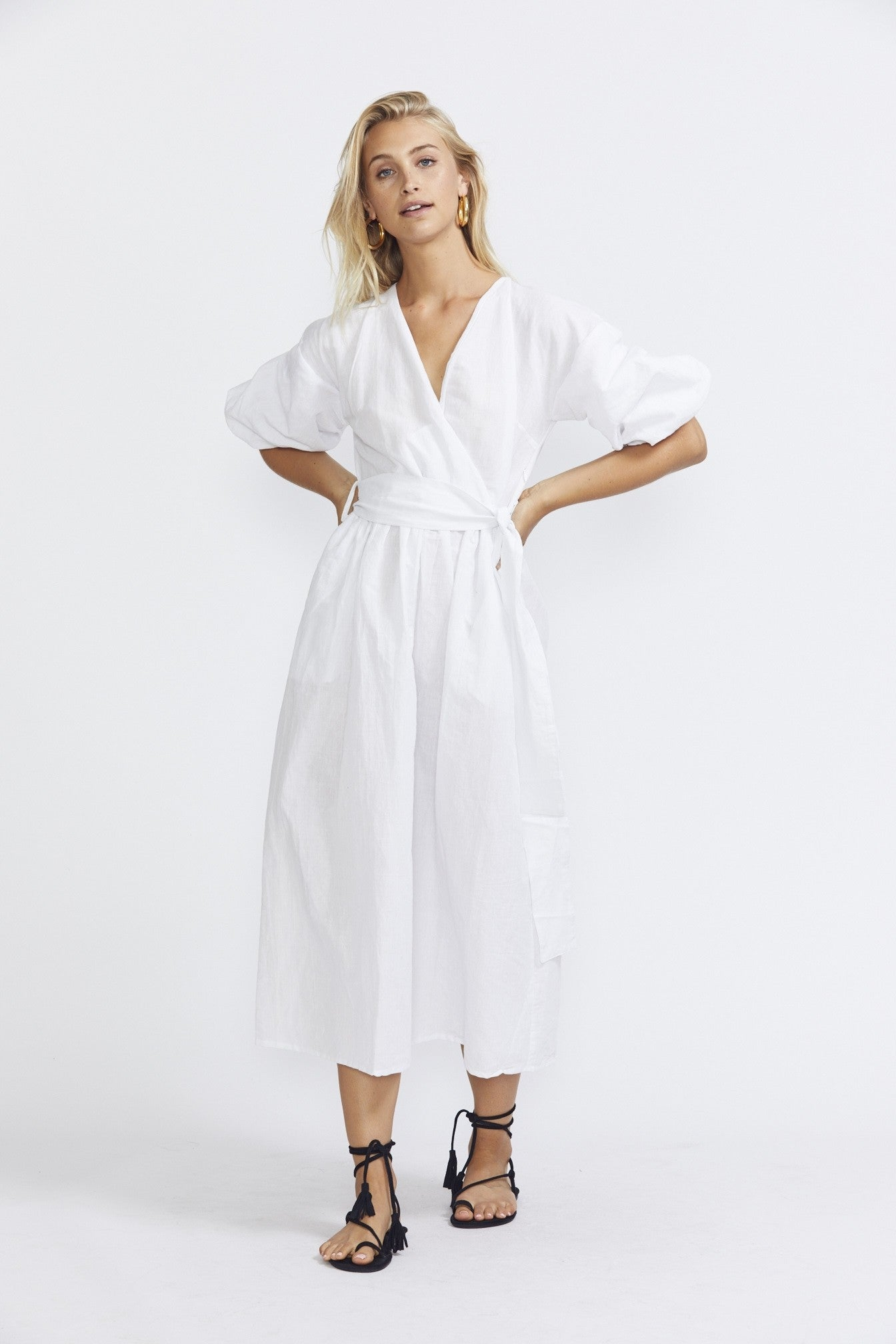 ÉSS THE LABEL Crystal Wrap Dress - White