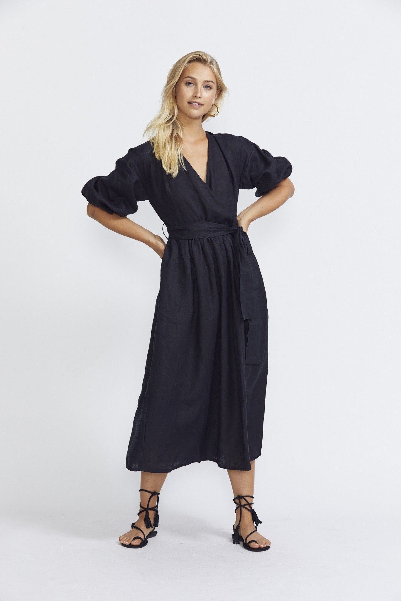 ÉSS THE LABEL The Crystal Wrap Dress - Black