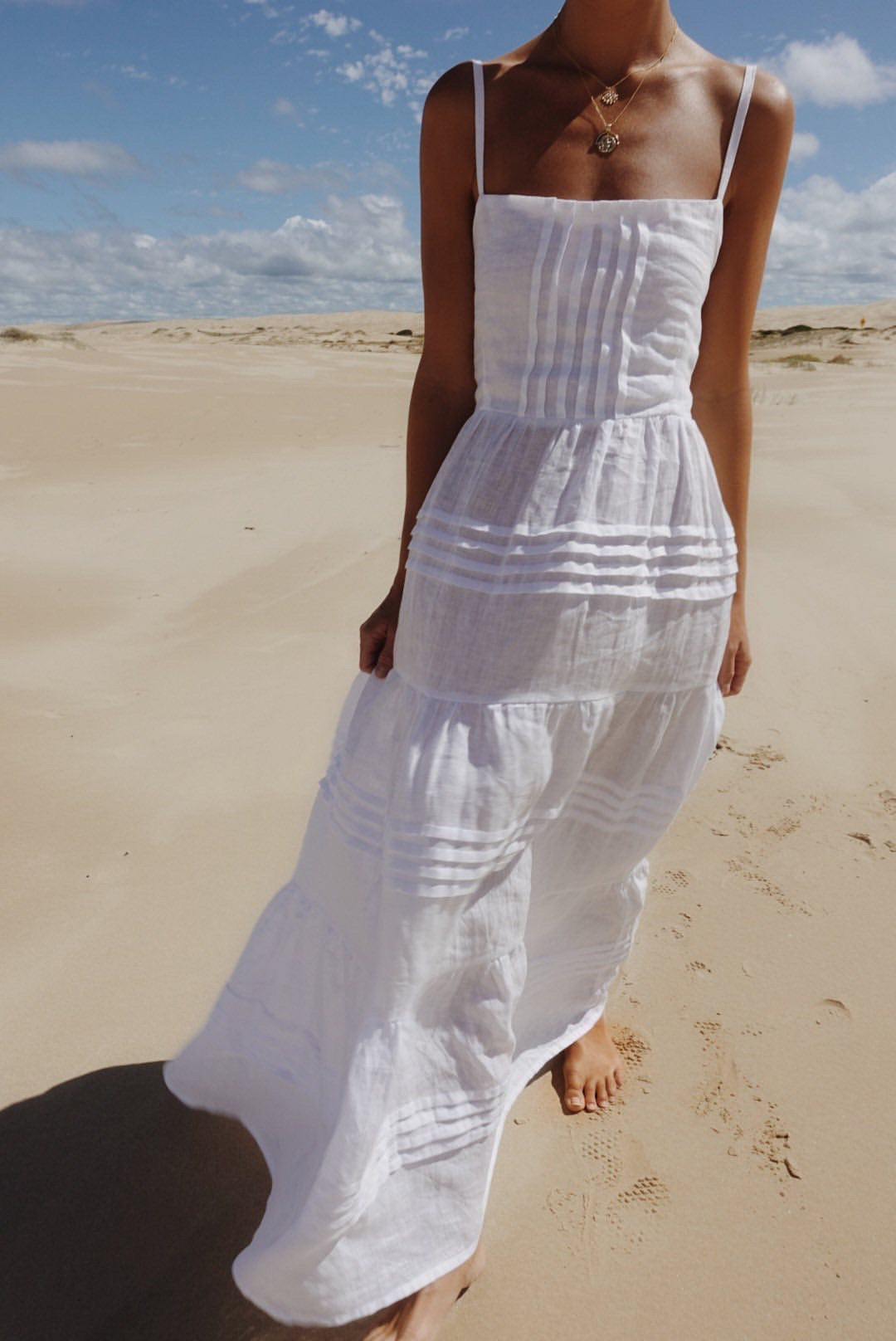 ÉSS THE LABEL Maggie Linen Maxi Dress - White