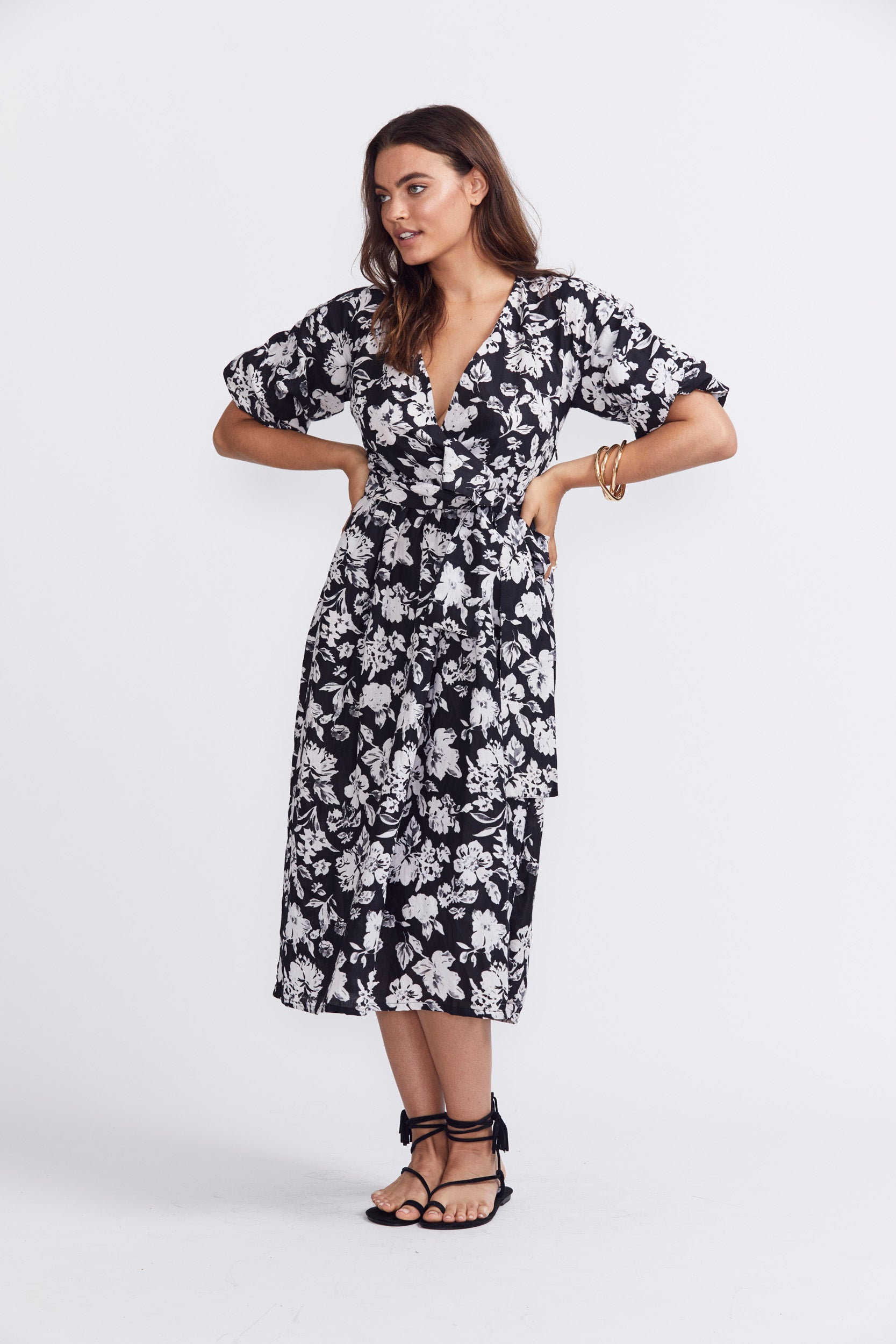 ÉSS THE LABEL The Crystal Wrap Dress - Black & White Floral