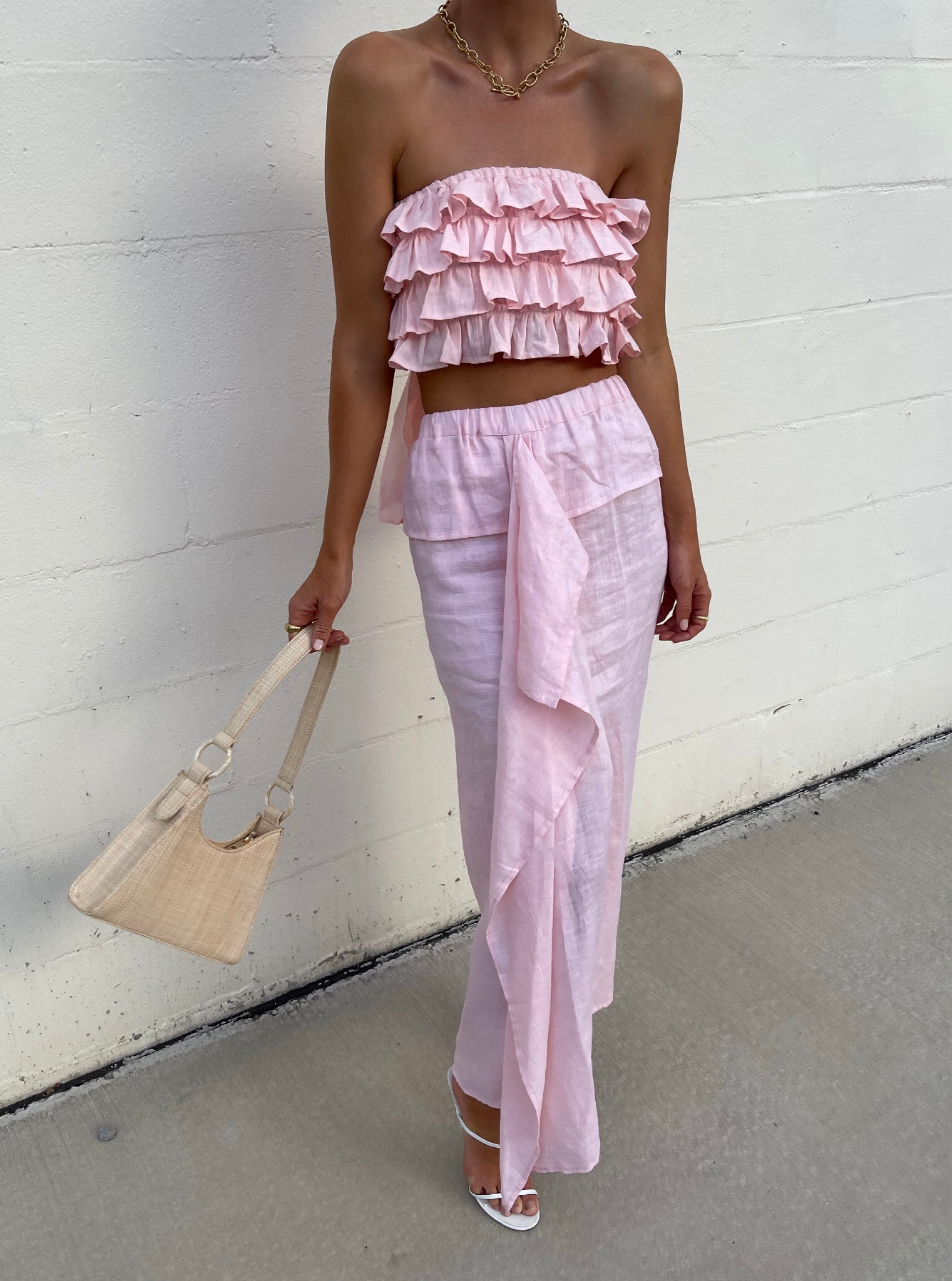 ÉSS THE LABEL Charli Ruffle Cotton Top - Blush