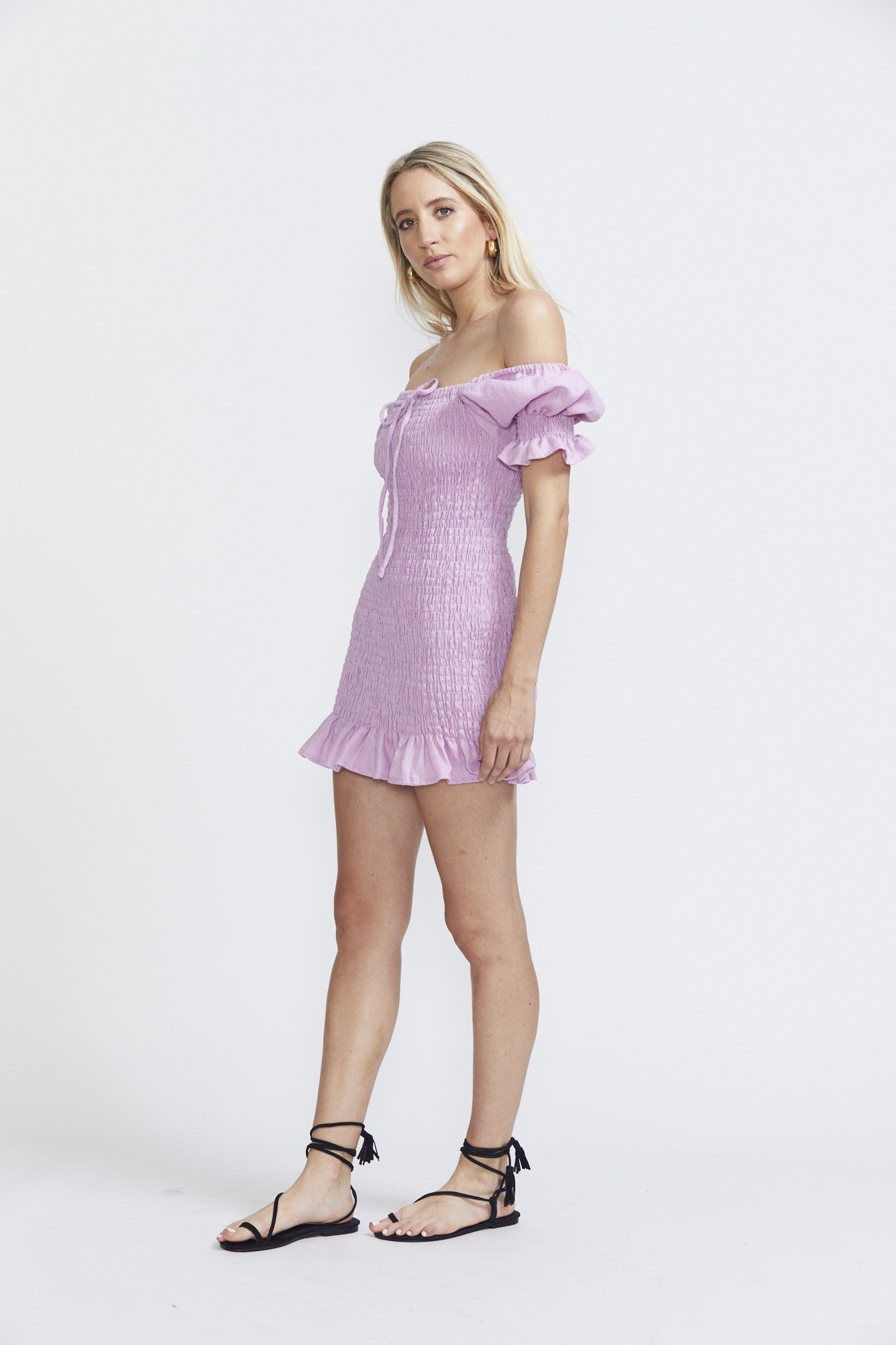 Faithfull The Brand Annibelis Mini Dress - Plain Iris