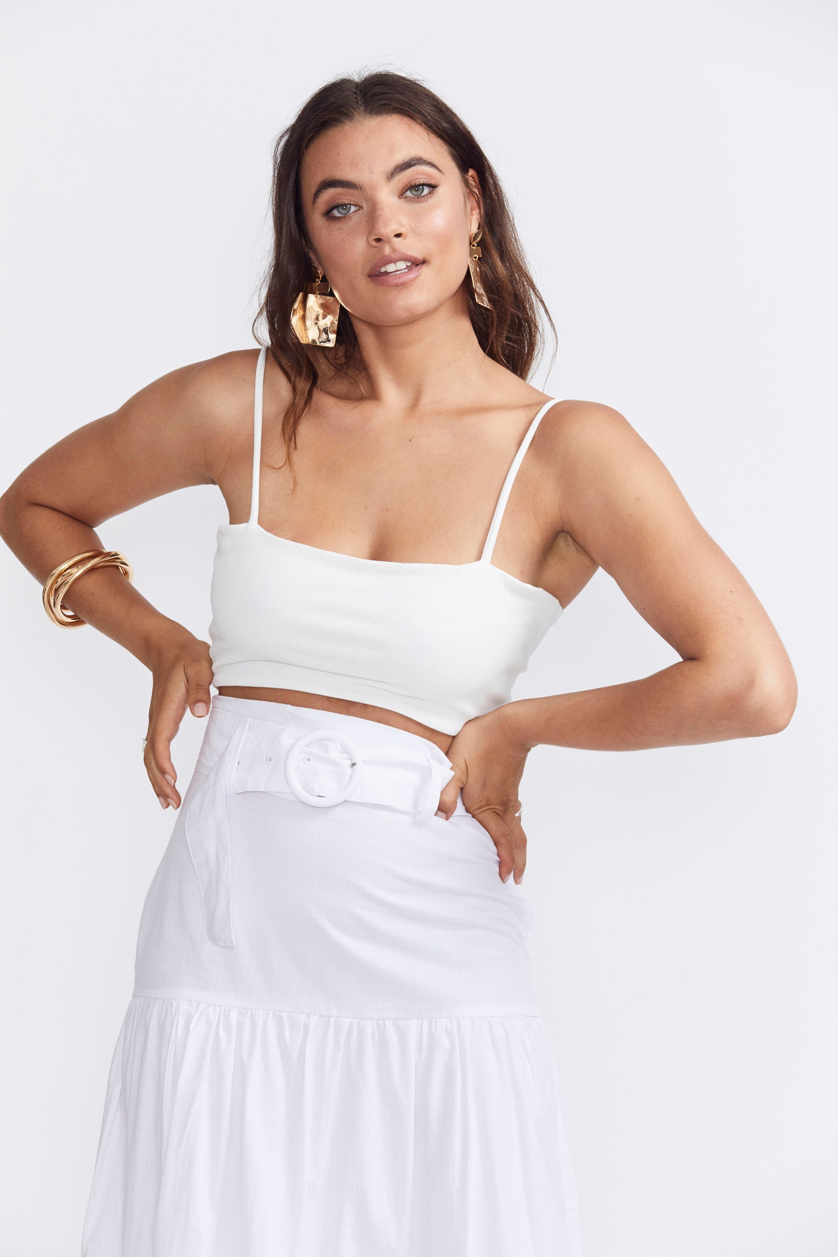 Runaway Lela Crop Top - White