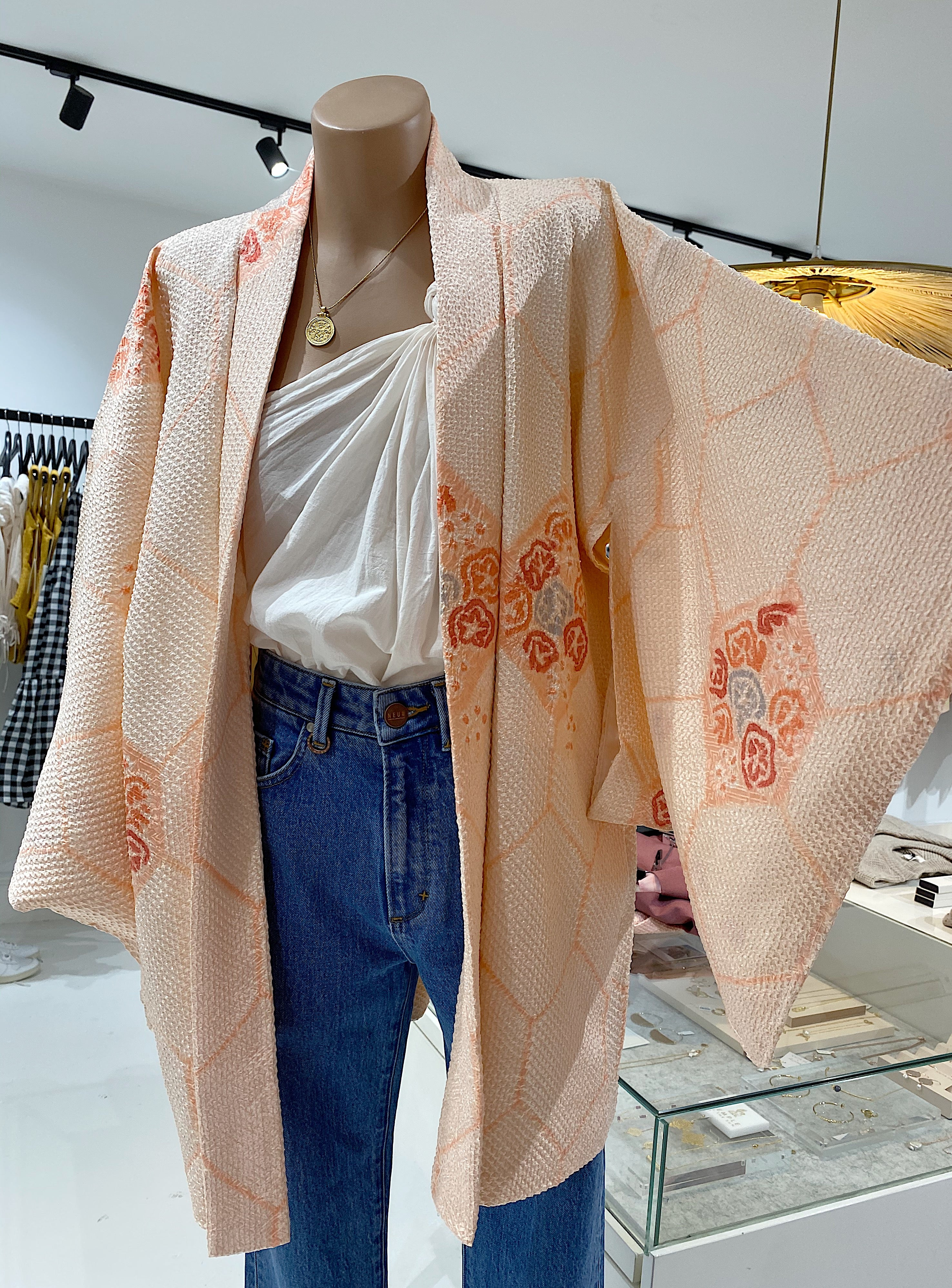 ÉSS THE LABEL Larni Vintage Silk Kimono - Peach