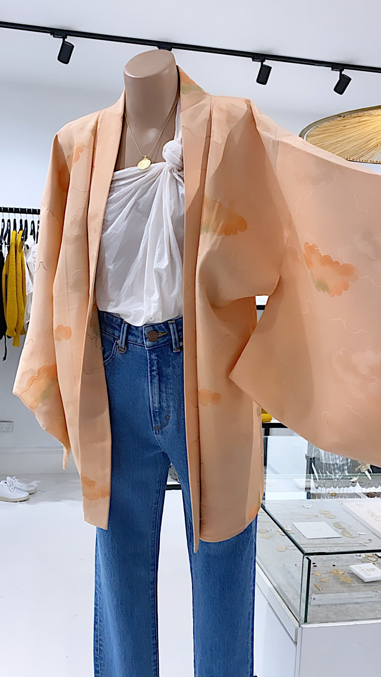 ÉSS THE LABEL Sophie Vintage Silk Kimono - Peach