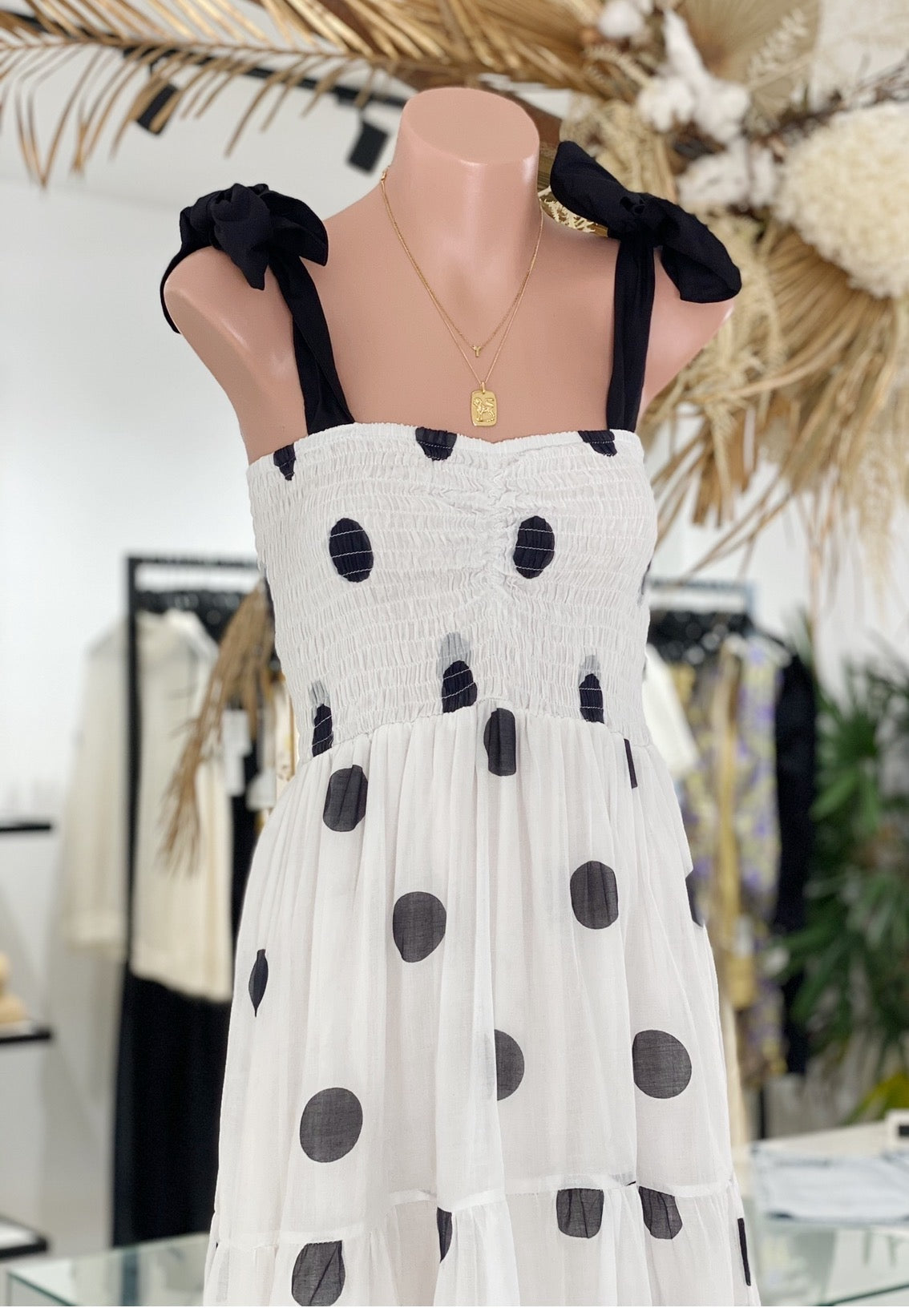 ÉSS THE LABEL Grace Dress - Cream/Black Spot