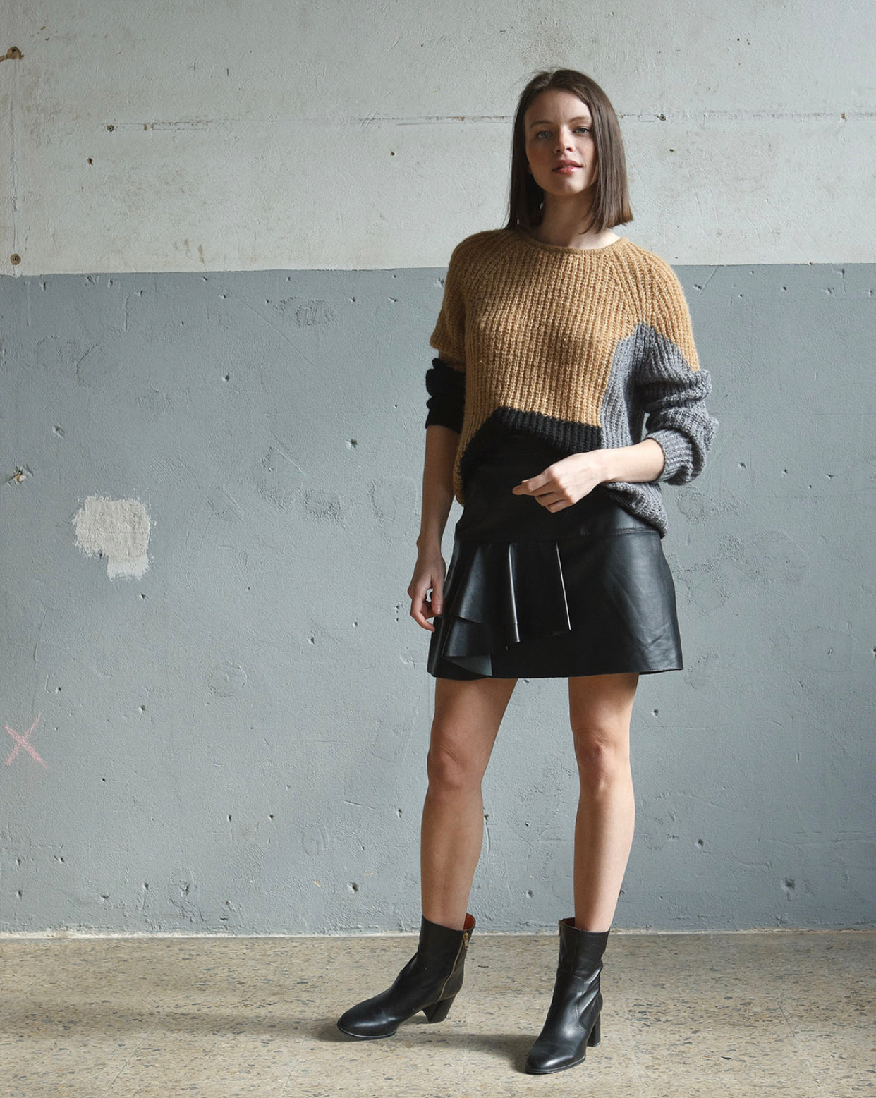 INDI AND COLD JERSEY JUMPER - GREY, BLACK & CAMEL