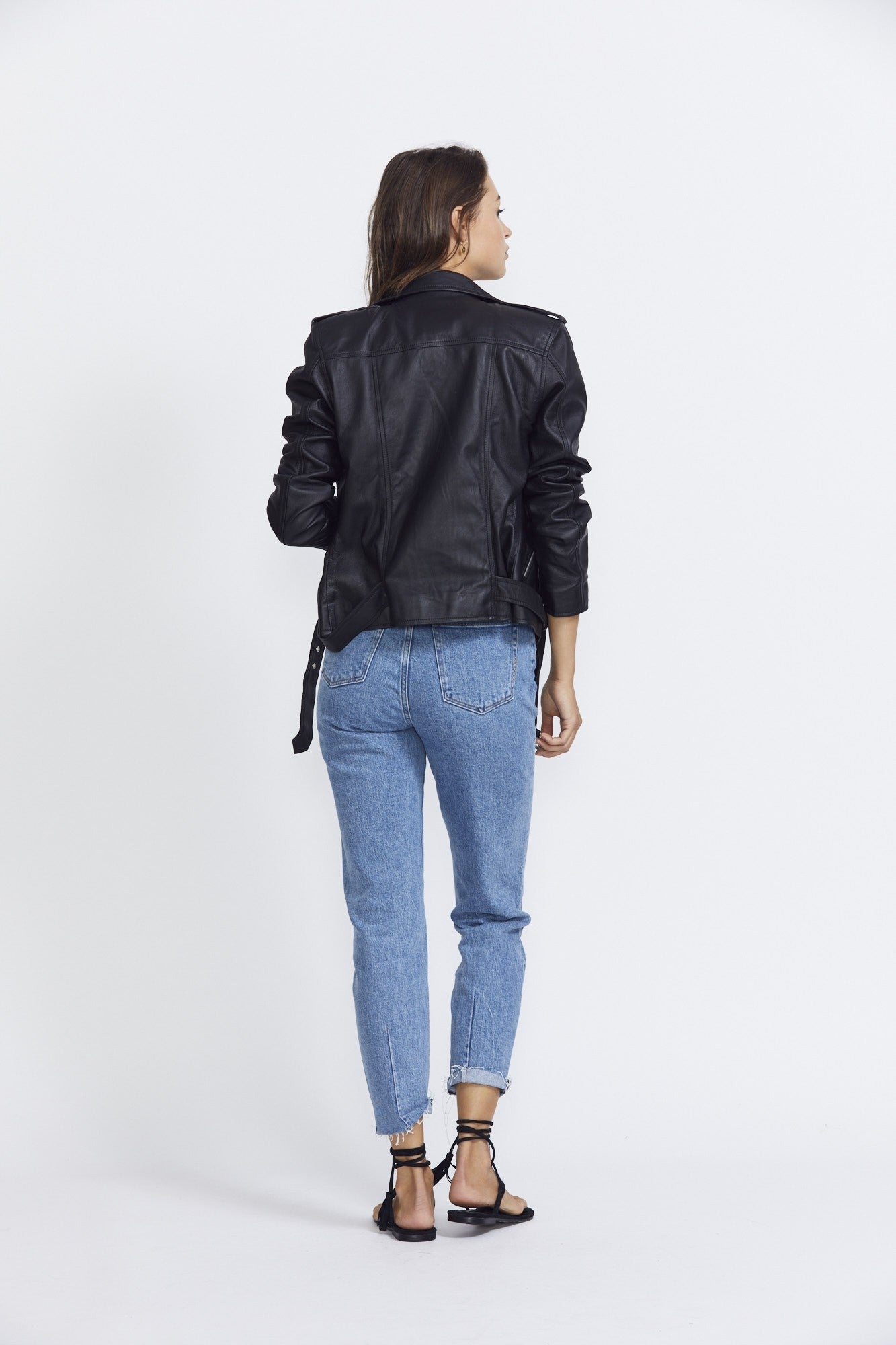 ÉSS THE LABEL Giselle Leather Biker Jacket- Black