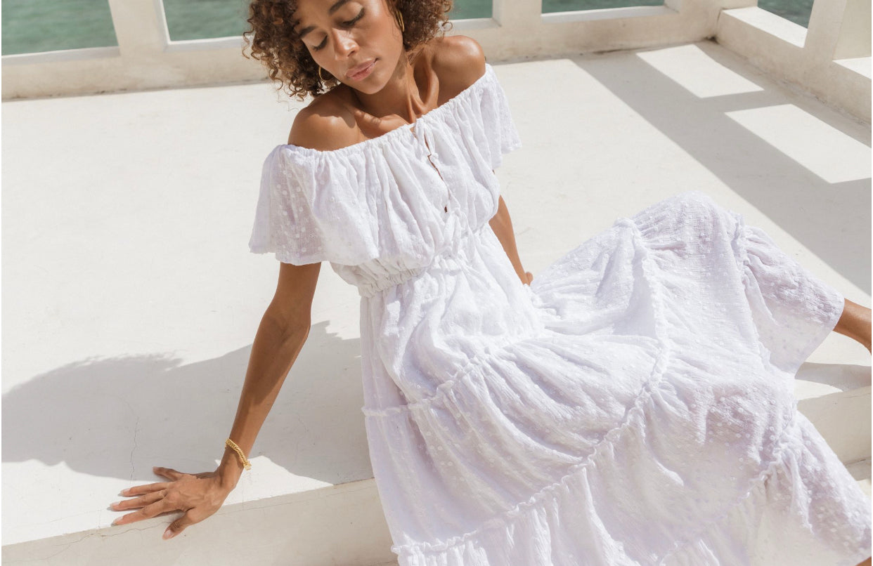 ÉSS THE LABEL The Sylvie Embroidered Maxi Dress - White