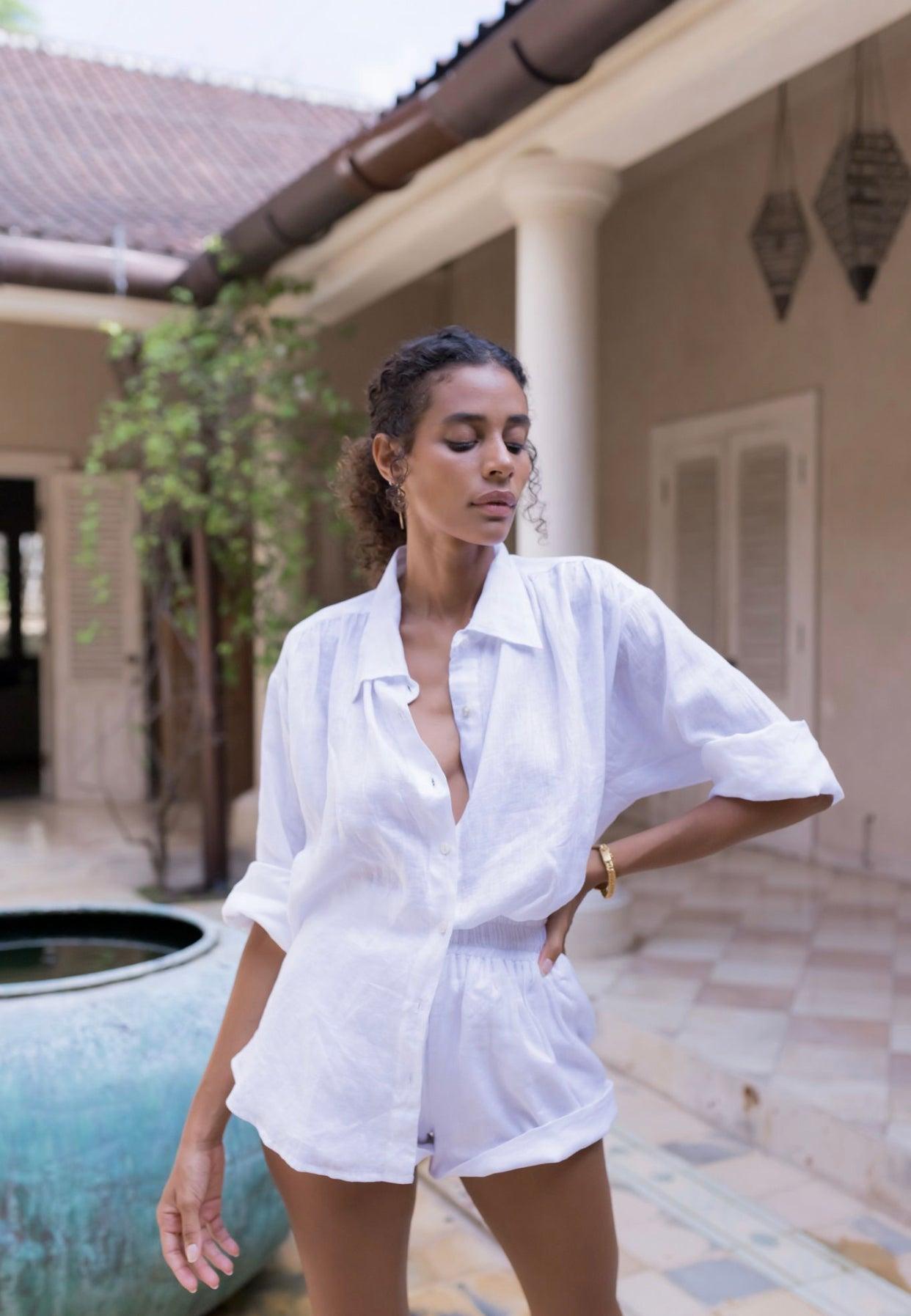 ÉSS THE LABEL Paloma Collared Linen Shirt - White