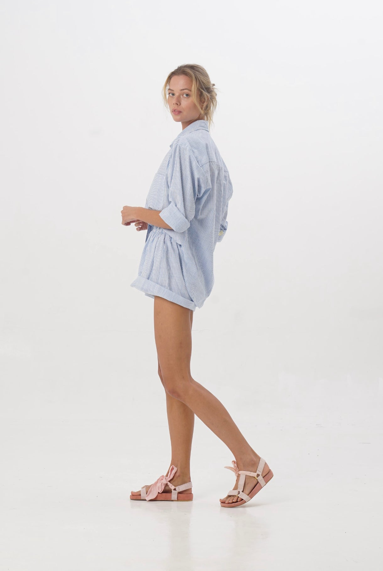 ÉSS THE LABEL Paloma Collared Linen Shirt - Stripe