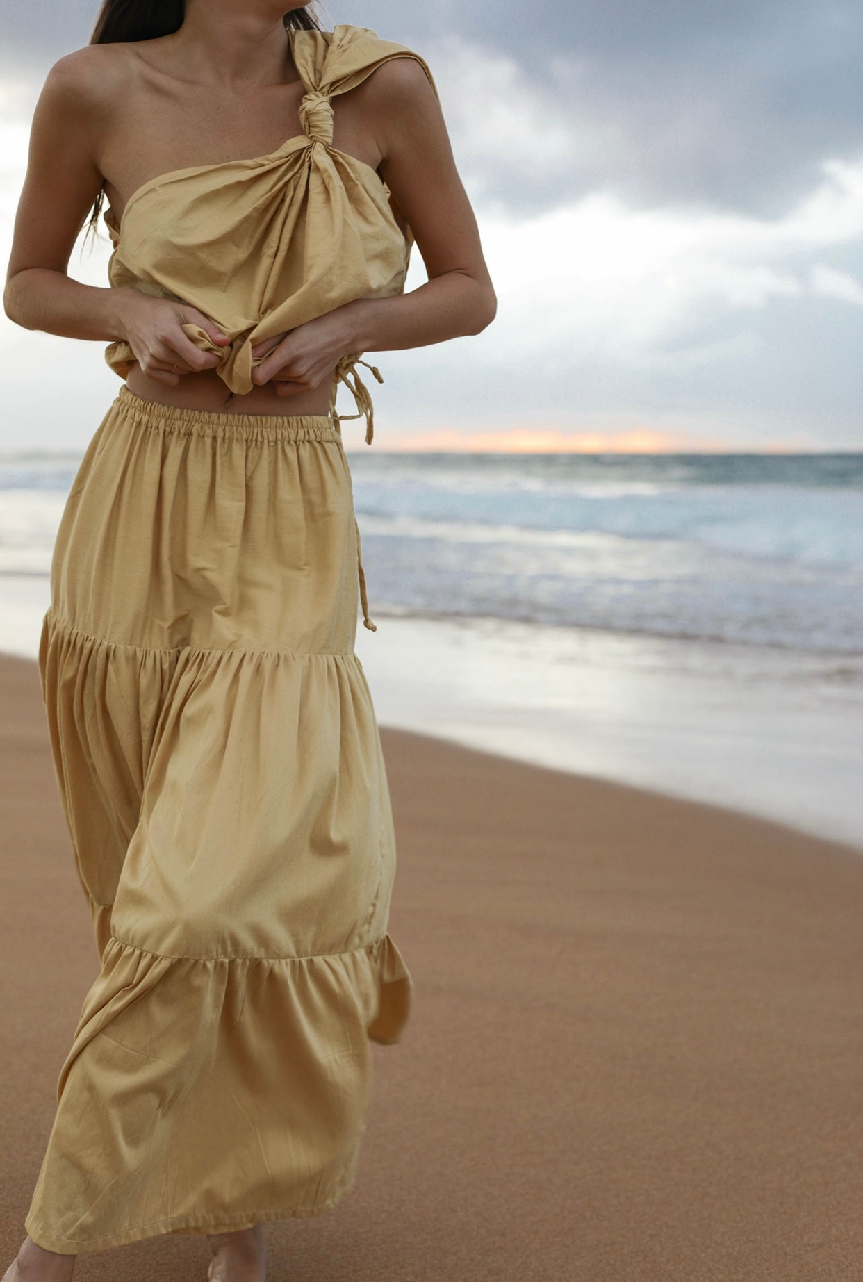 ÉSS THE LABEL Juliette Maxi Silk Cotton Skirt Limited Edition - Gold
