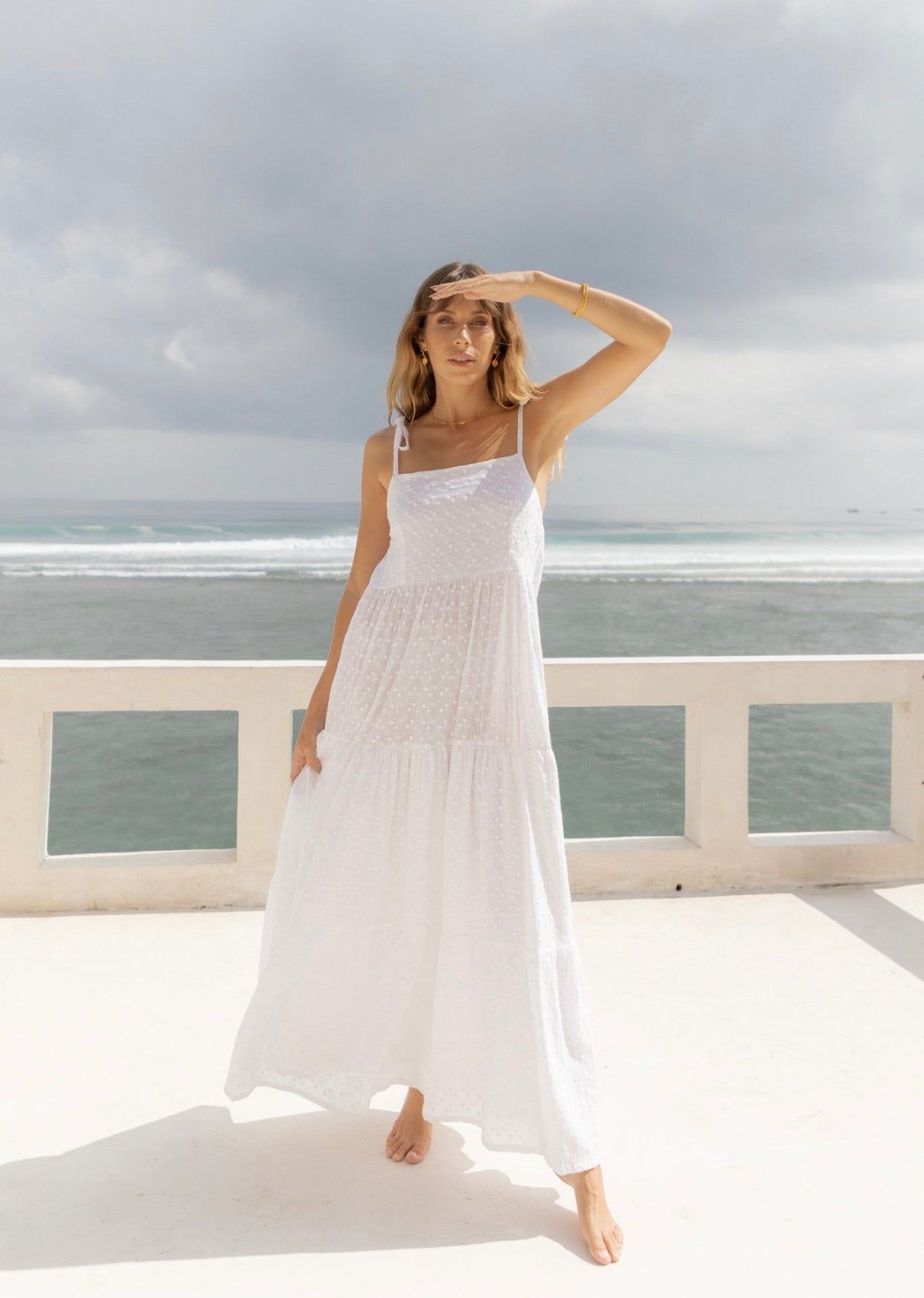 ÉSS THE LABEL Ava Cotton Maxi Dress - Embroidered White