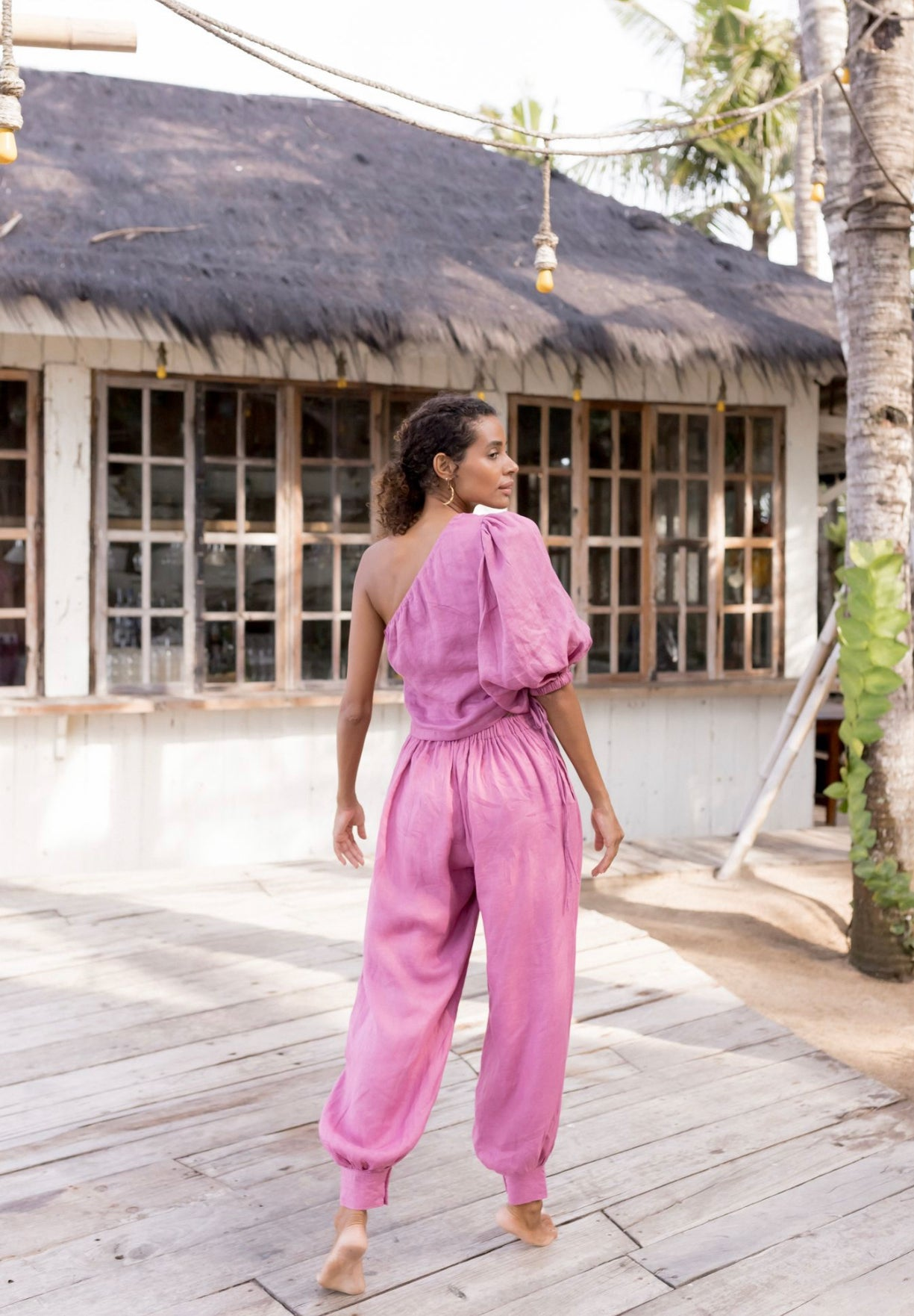 ÉSS THE LABEL Harriet High Waisted Linen Pant - Magenta