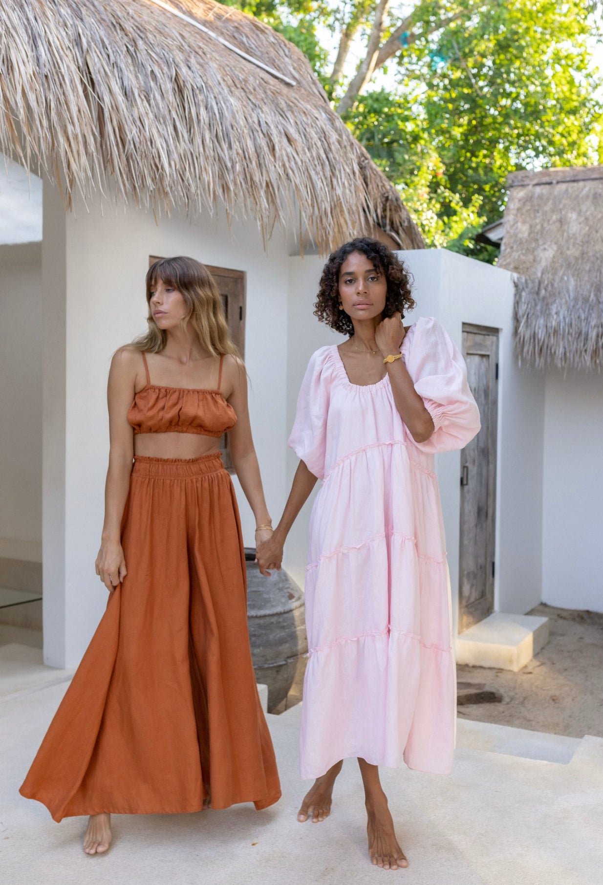 ÉSS THE LABEL Lulu Linen Maxi Dress - Blush