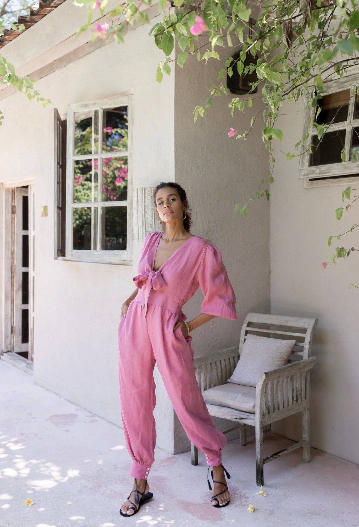 ÉSS THE LABEL Madeline Linen Jumpsuit - Magenta