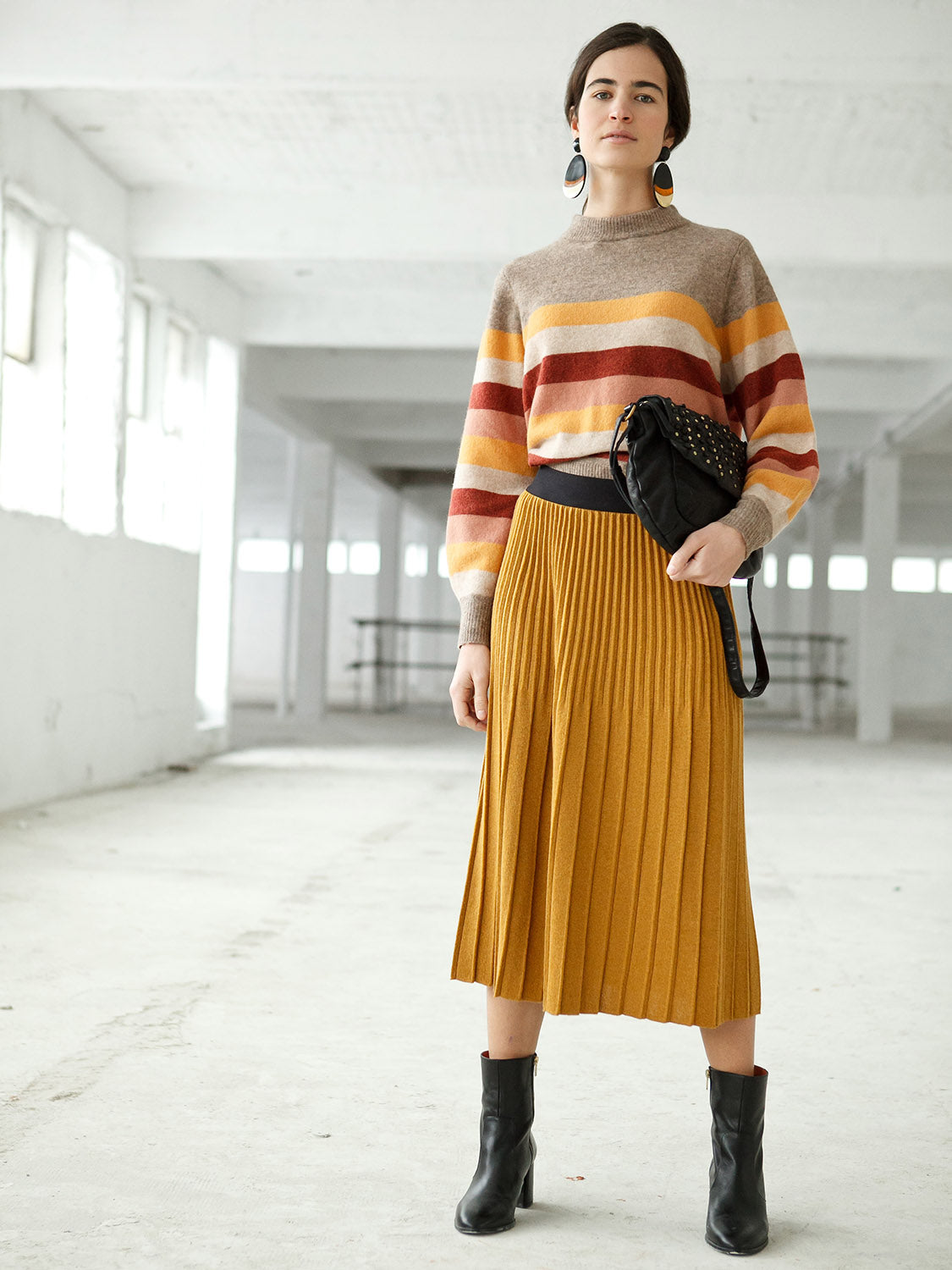 INDI AND COLD JERSEY JUMPER - MOSTAZA STRIPE