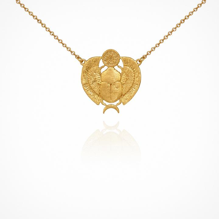 Temple of the Sun Scarab Necklace - Gold