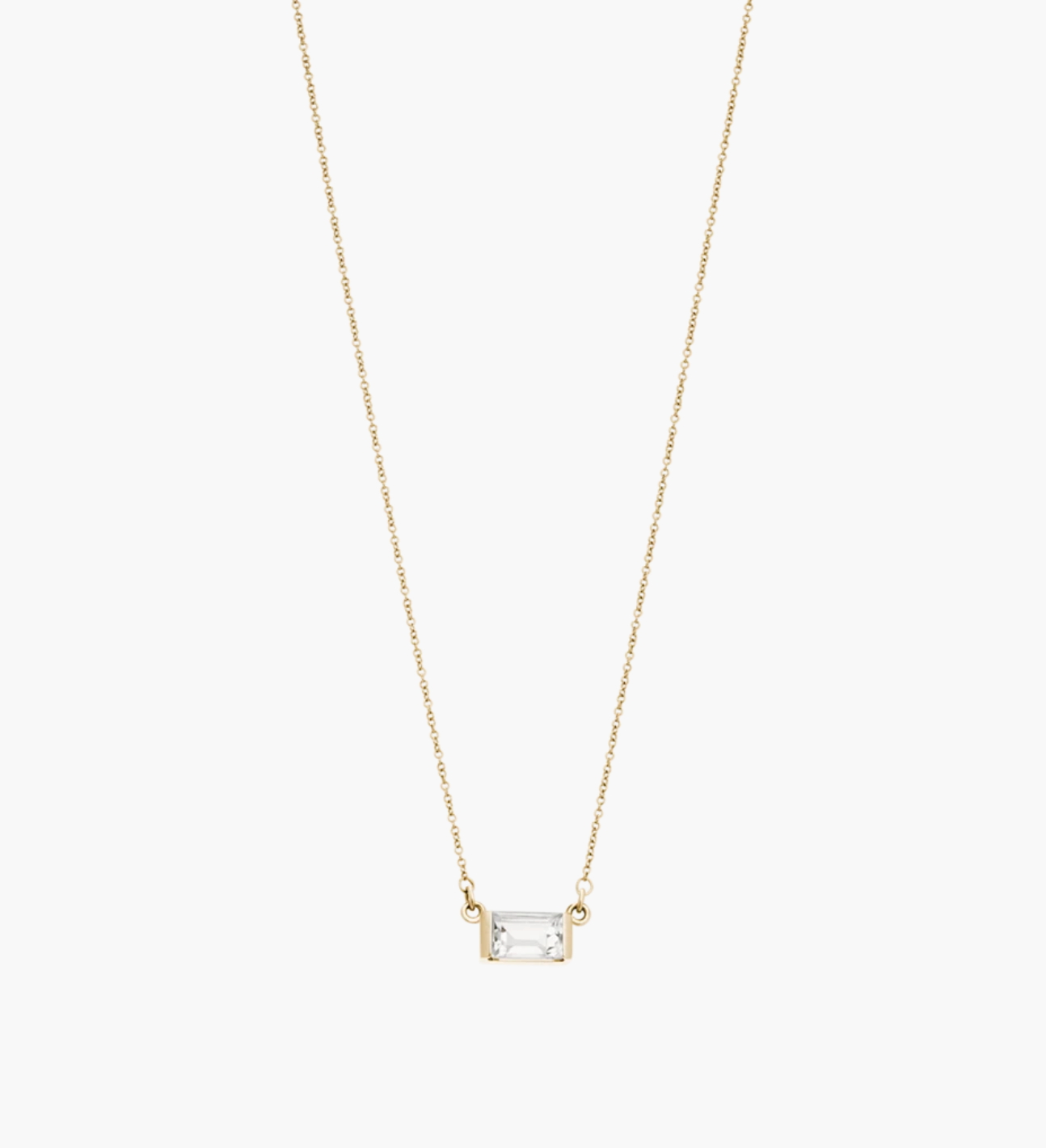 Kirstin Ash Baguette Necklace - GOLD White Topaz