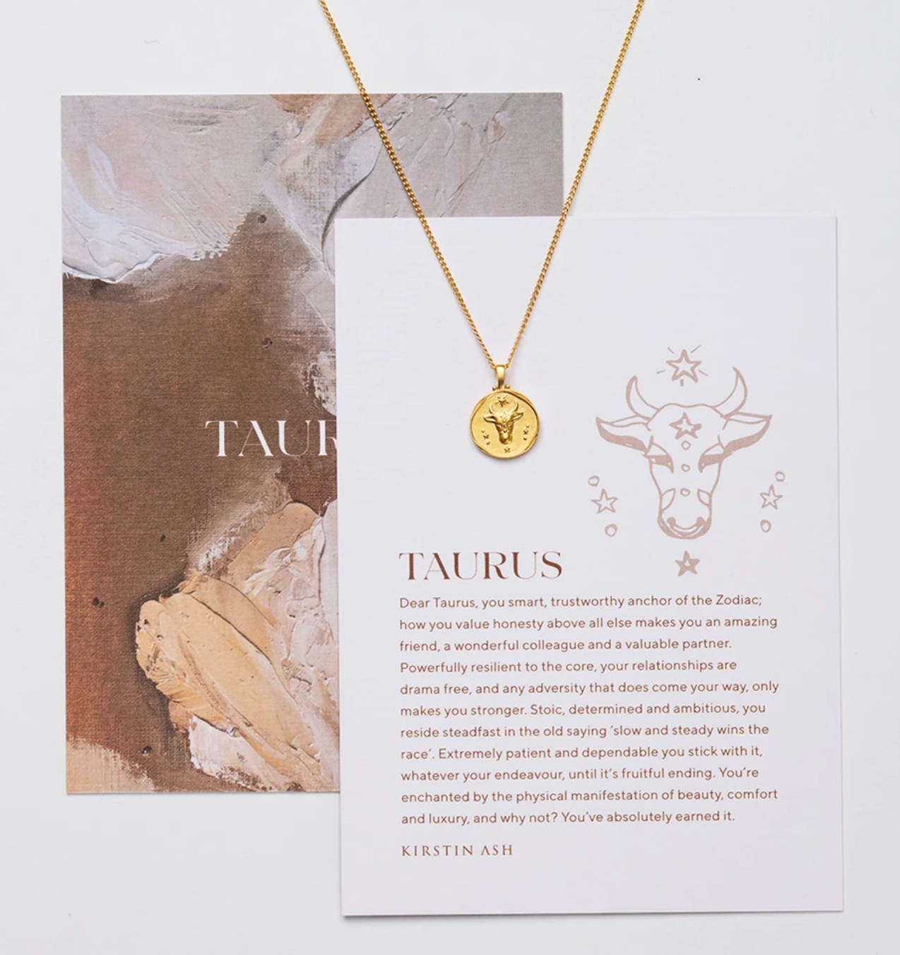KIRSTIN ASH TAURUS ZODIAC NECKLACE - GOLD