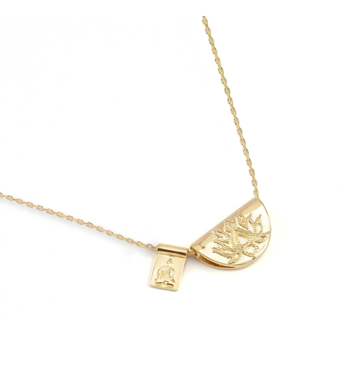 By Charlotte Gold Lotus And Little Buddha Necklace - Gold