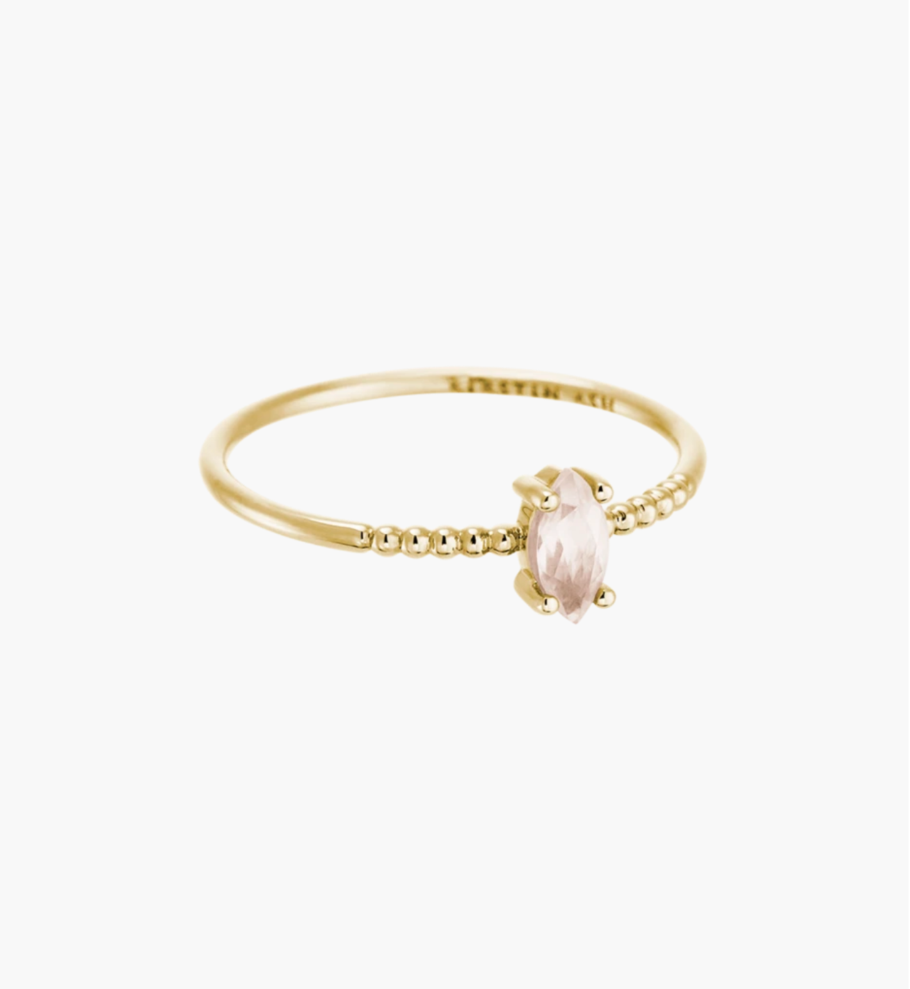 Kirstin Ash Rose quartz Marquise Ring - 14K Gold