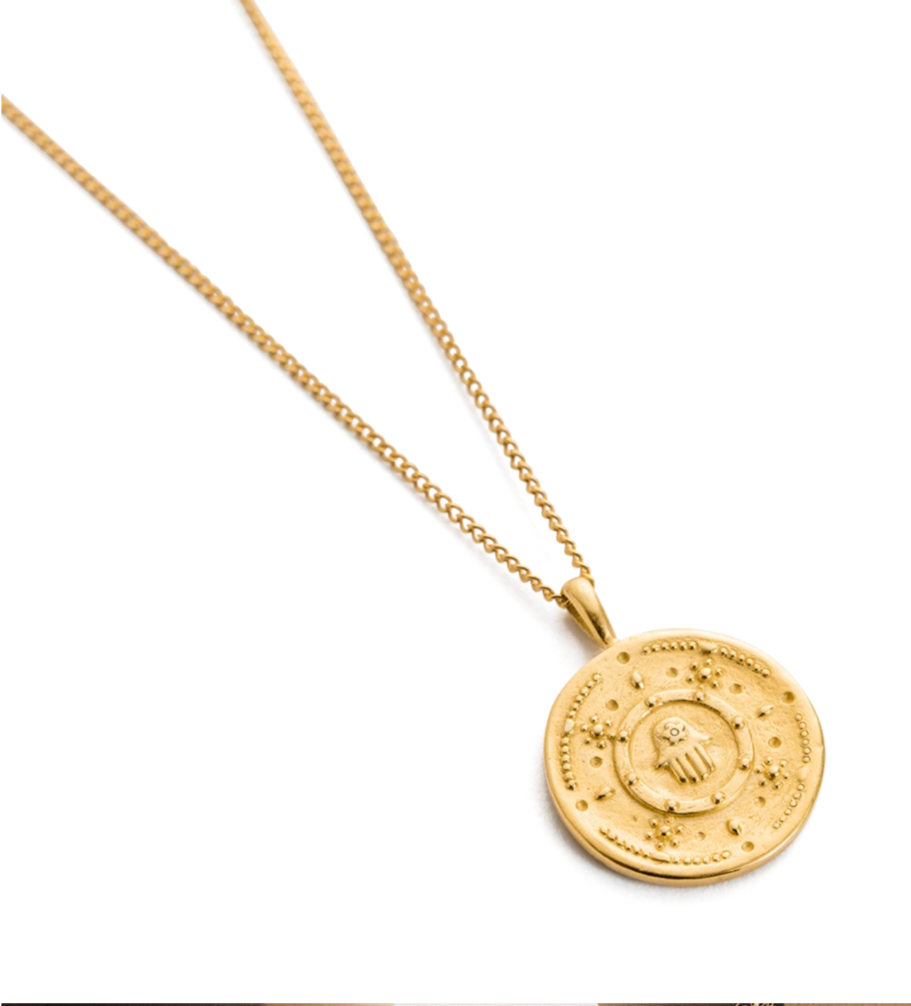 Kirstin Ash Hamsa Protection Coin Necklace - Gold