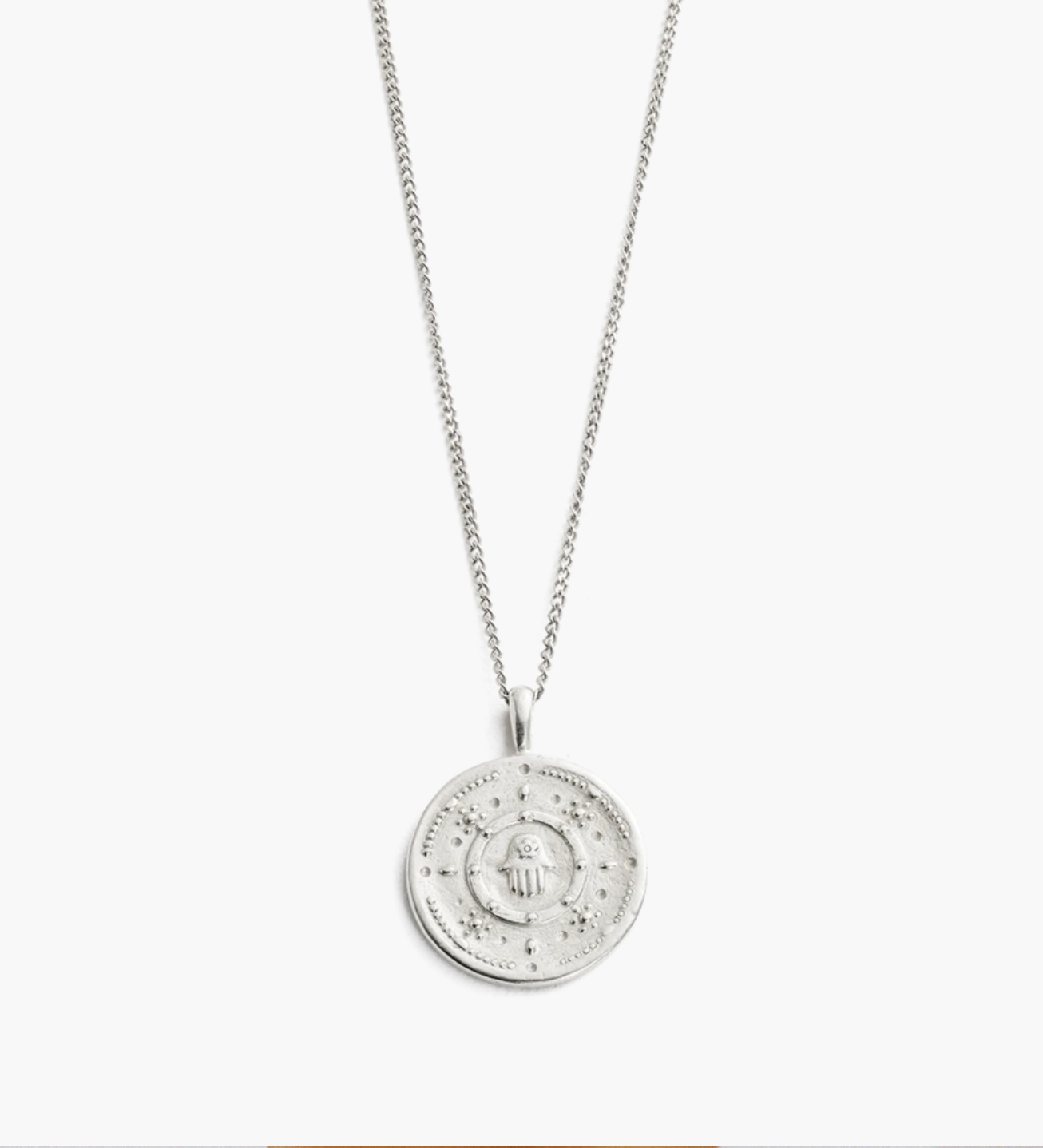 Kirstin Ash Hamsa Protection Coin Necklace - Sterling Silver