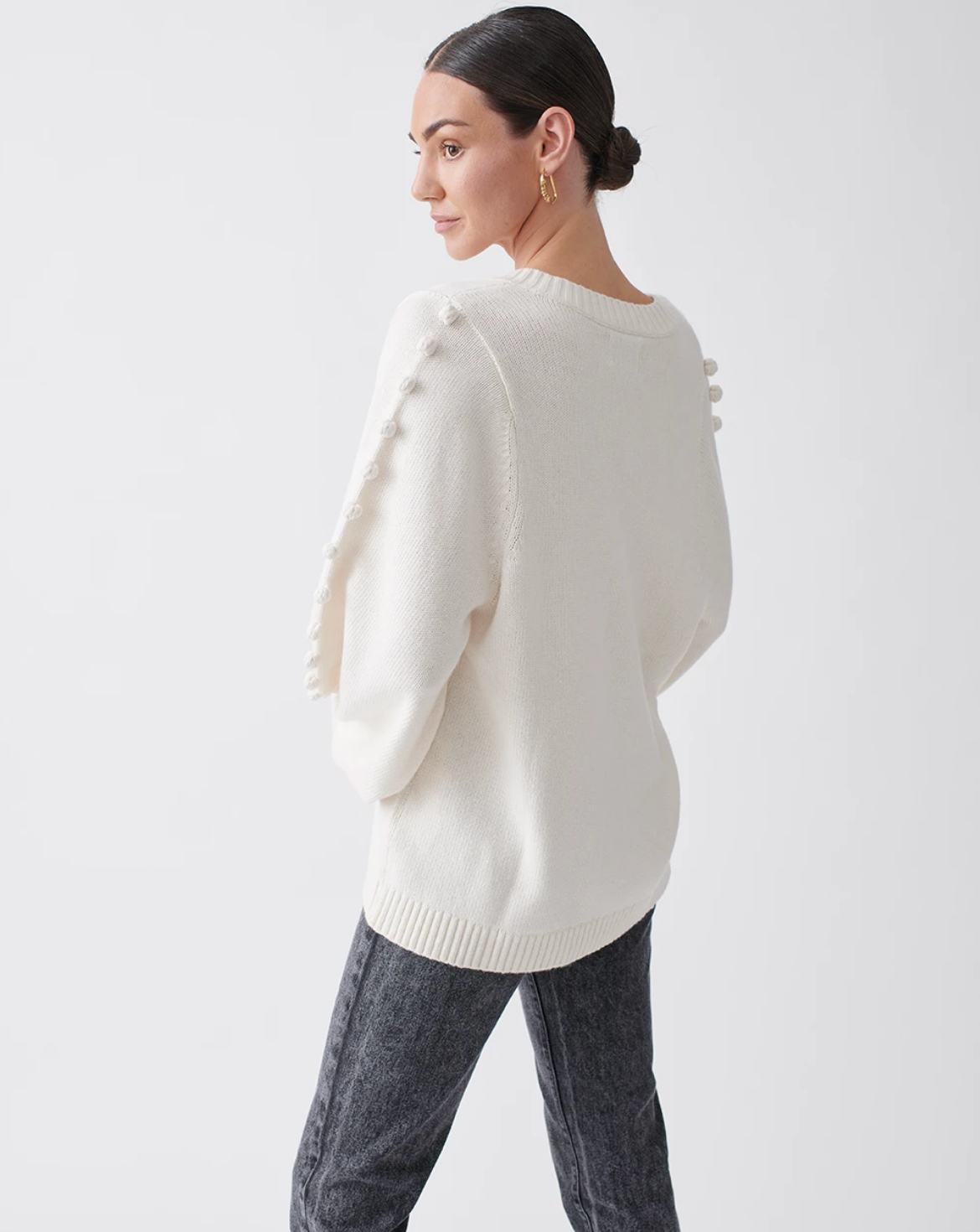 Joslin Studio Paige Wool Cotton Knit Jumper - Milk