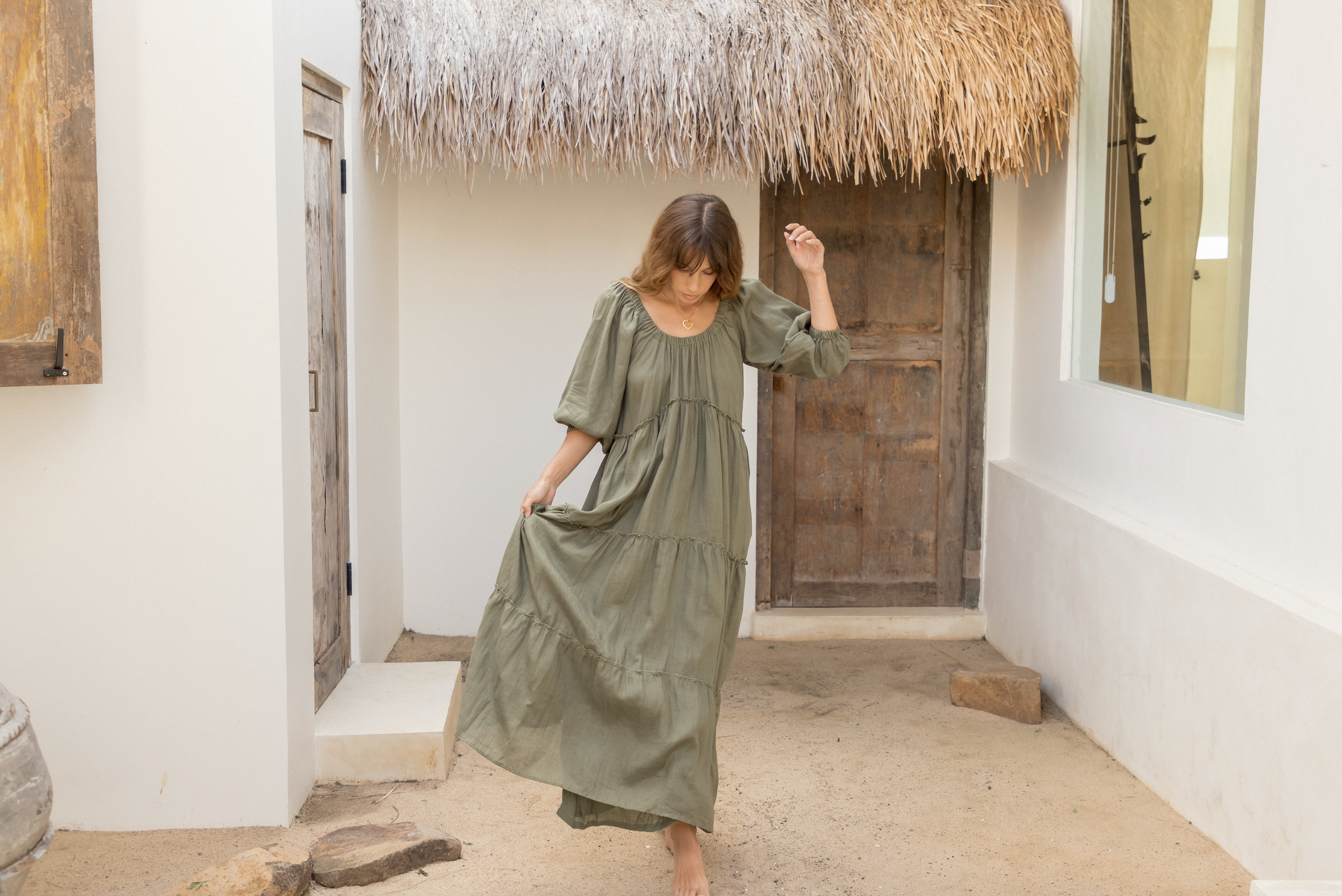 ÉSS THE LABEL Lulu Linen Maxi Dress - Khaki