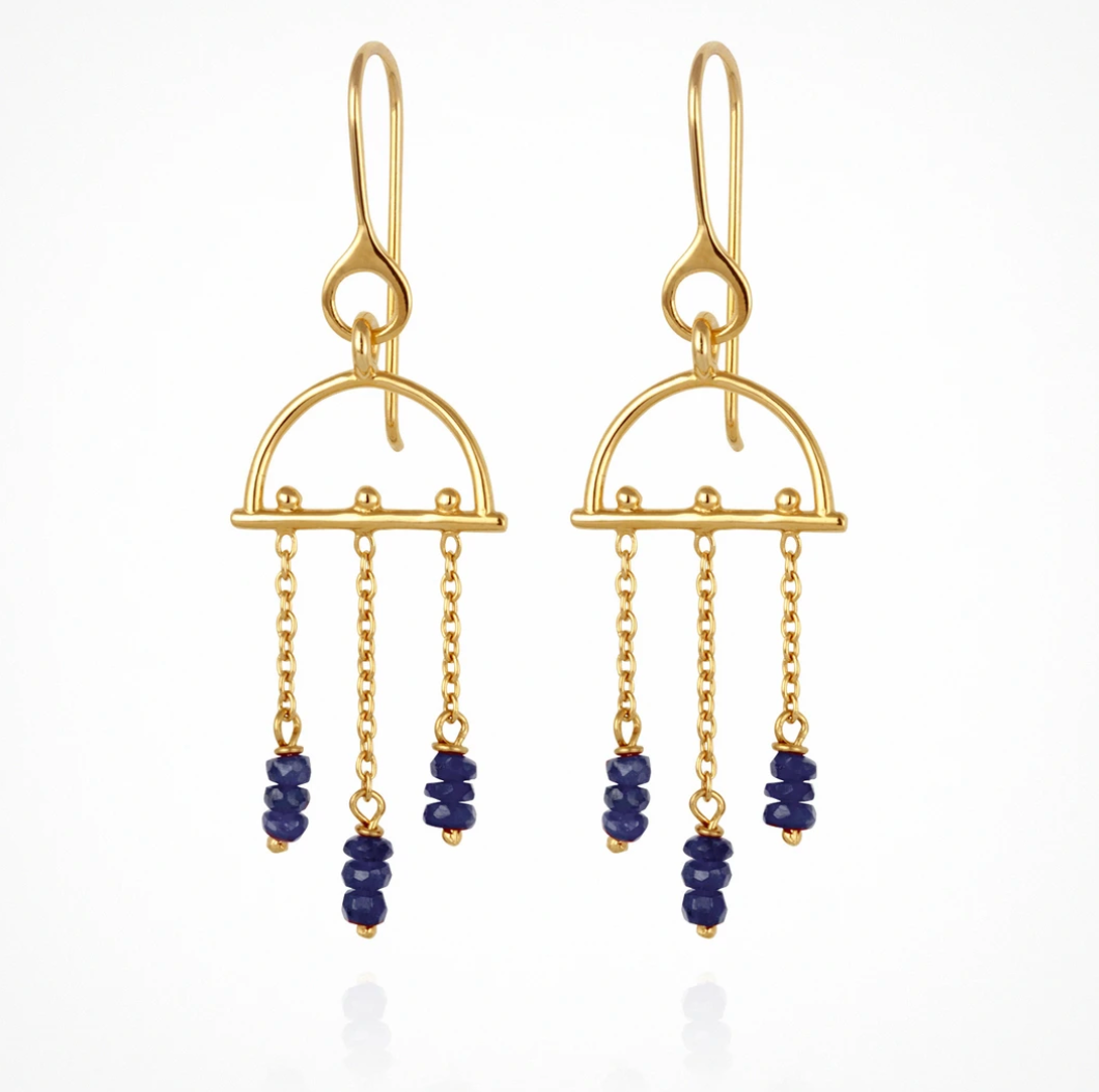 Temple Of The Sun Amira Earrings - Sapphire Gold