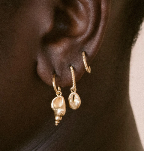 Kirstin Ash Conch Shell Hoops - 18k Gold Plated