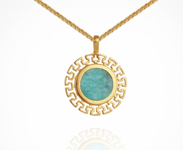 Temple Of The Sun Kosmos Necklace - Amozonite Gold