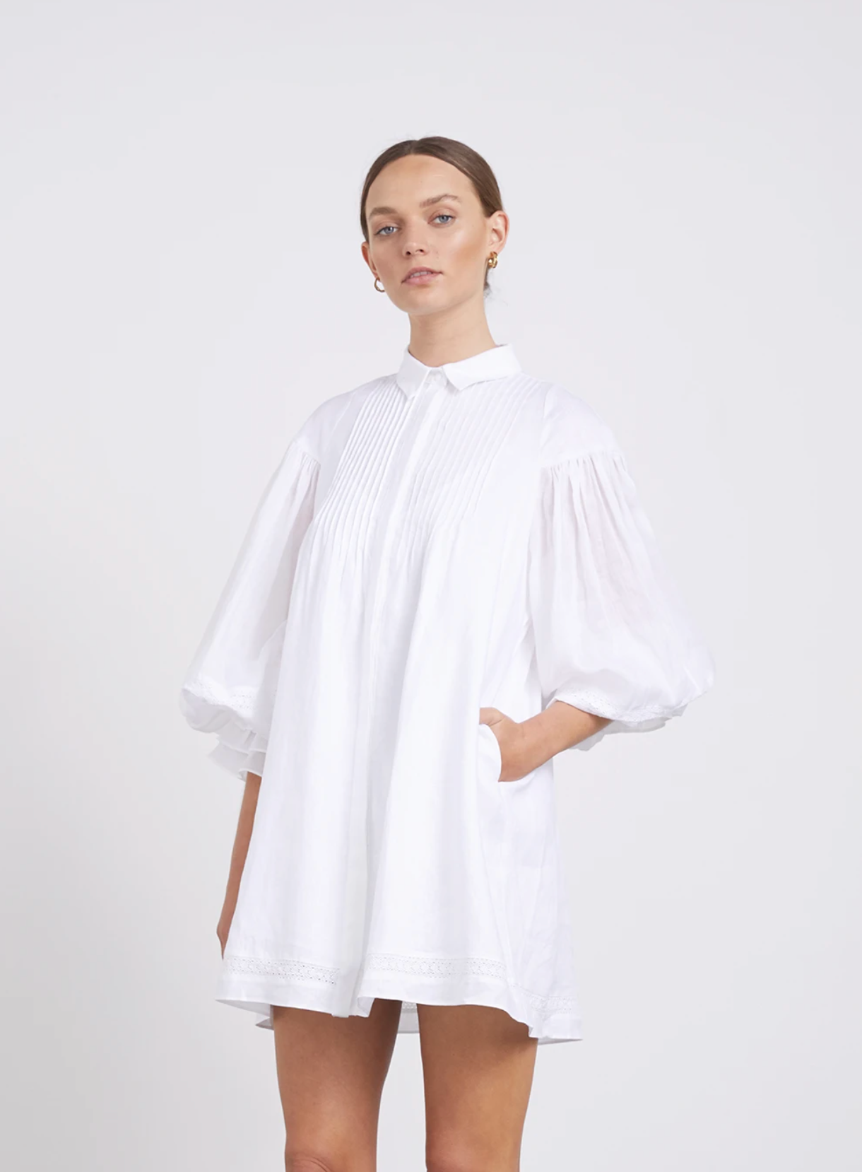 Joslin Studio Felicity Smock Shirt Mini Dress - Optic White
