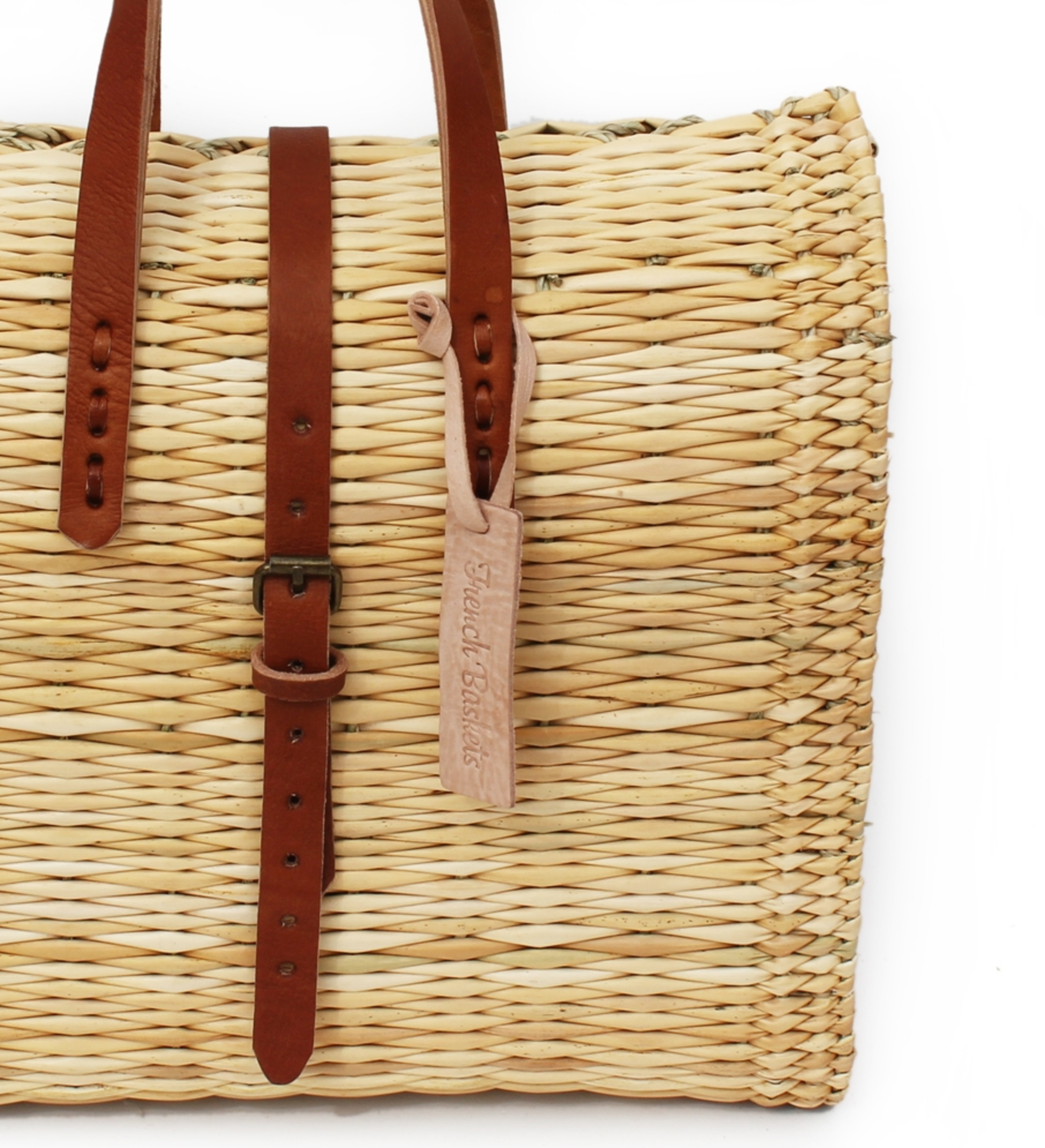 French Basket Medium Straw Suitcase -  Natural