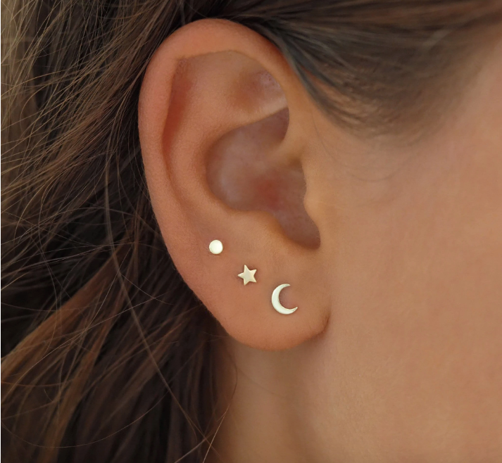By Charlotte Over The Moon Studs - Gold