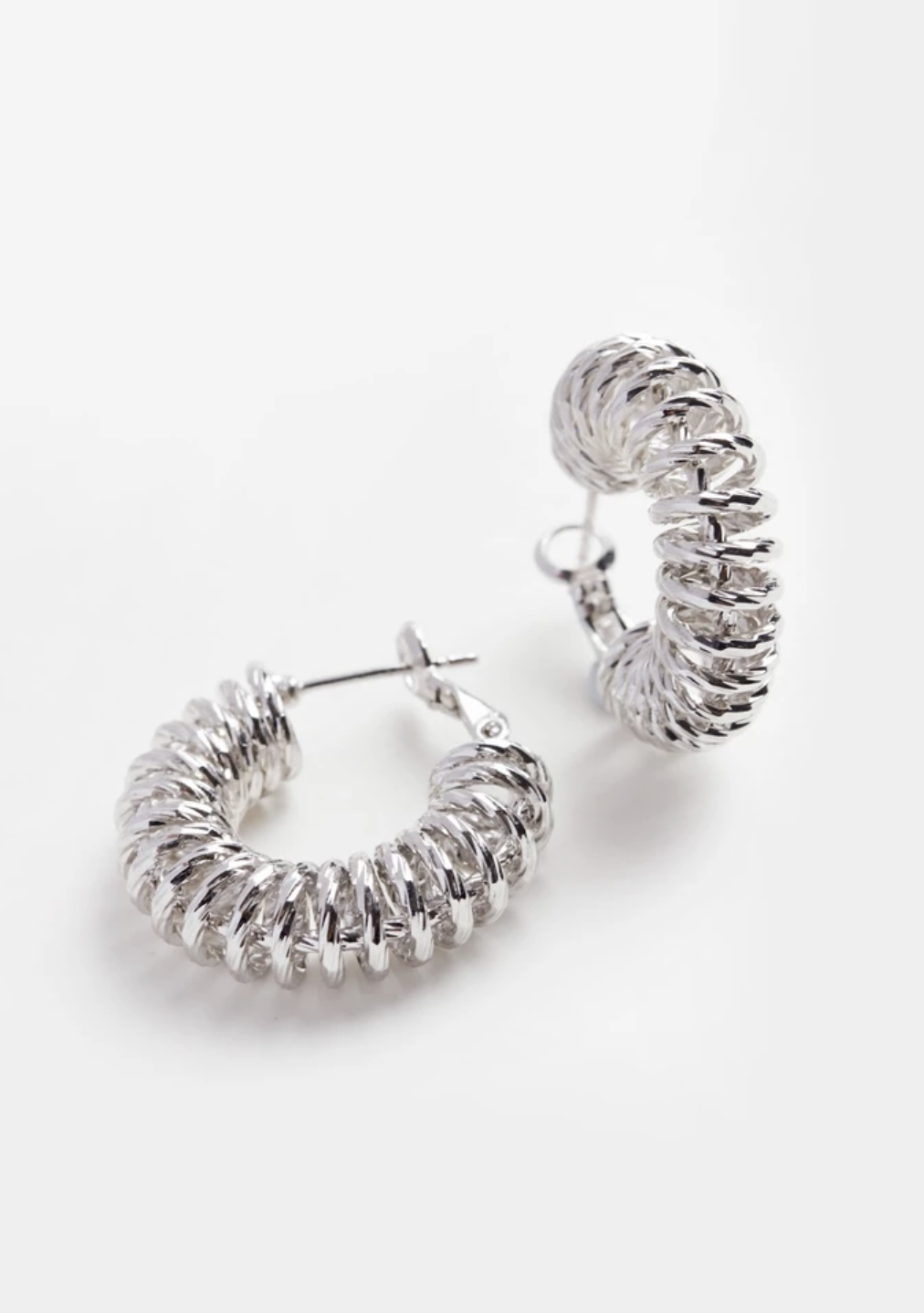 Reliquia Spiral Hoop Earrings - Silver