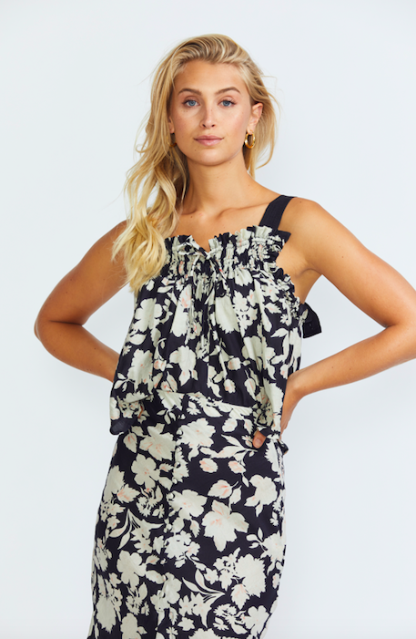 ÉSS THE LABEL Jacqueline Silk Cami - Black/White Floral