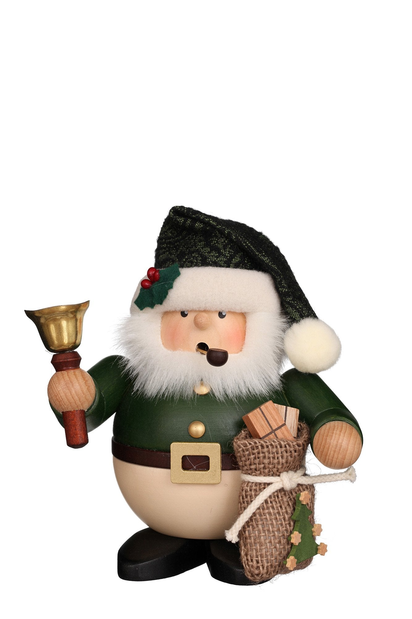 Incense Burner - Premium - Santa with bell (Green)