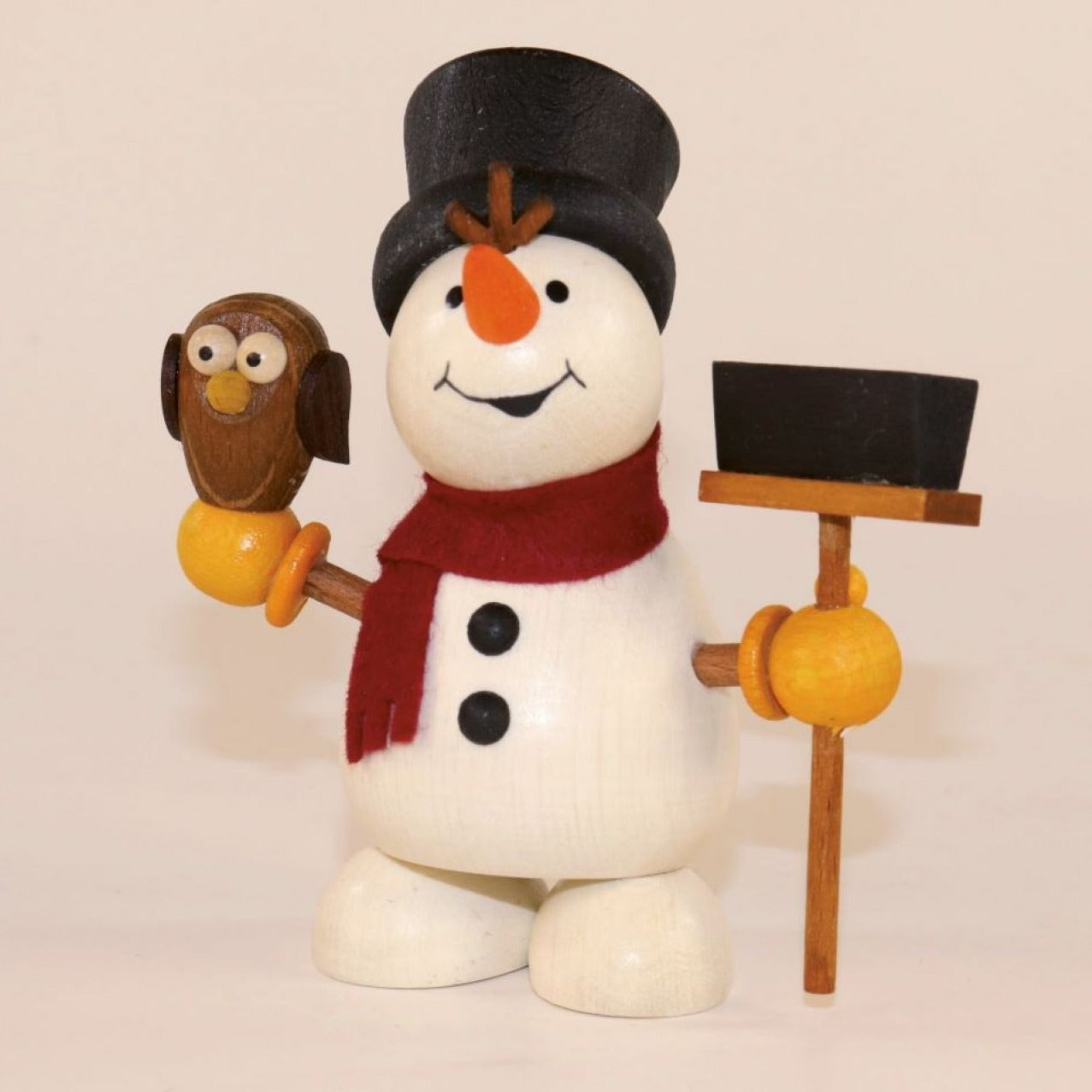 Weihnachtsmann Collectibles - Large Snowman with Owl and Broom