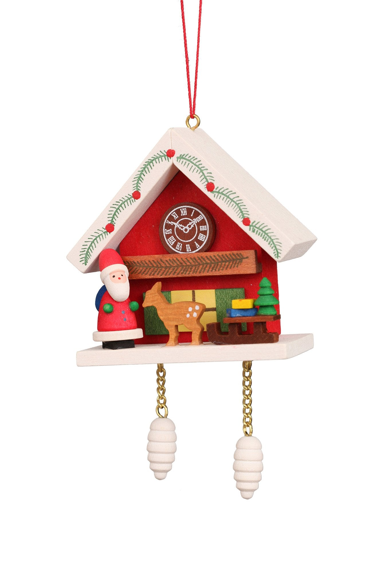 Cuckoo Clock - Santa and Reindeer under snow-capped Roof - Christmas tree decoration