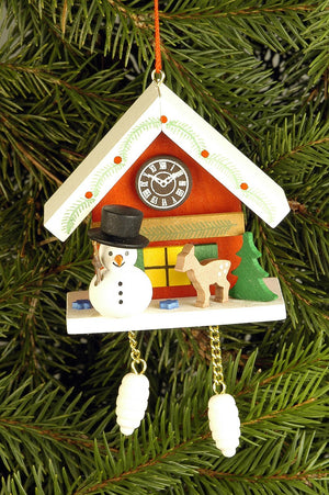 Cuckoo Clock - Snowman under snow-capped Roof - Christmas tree decoration